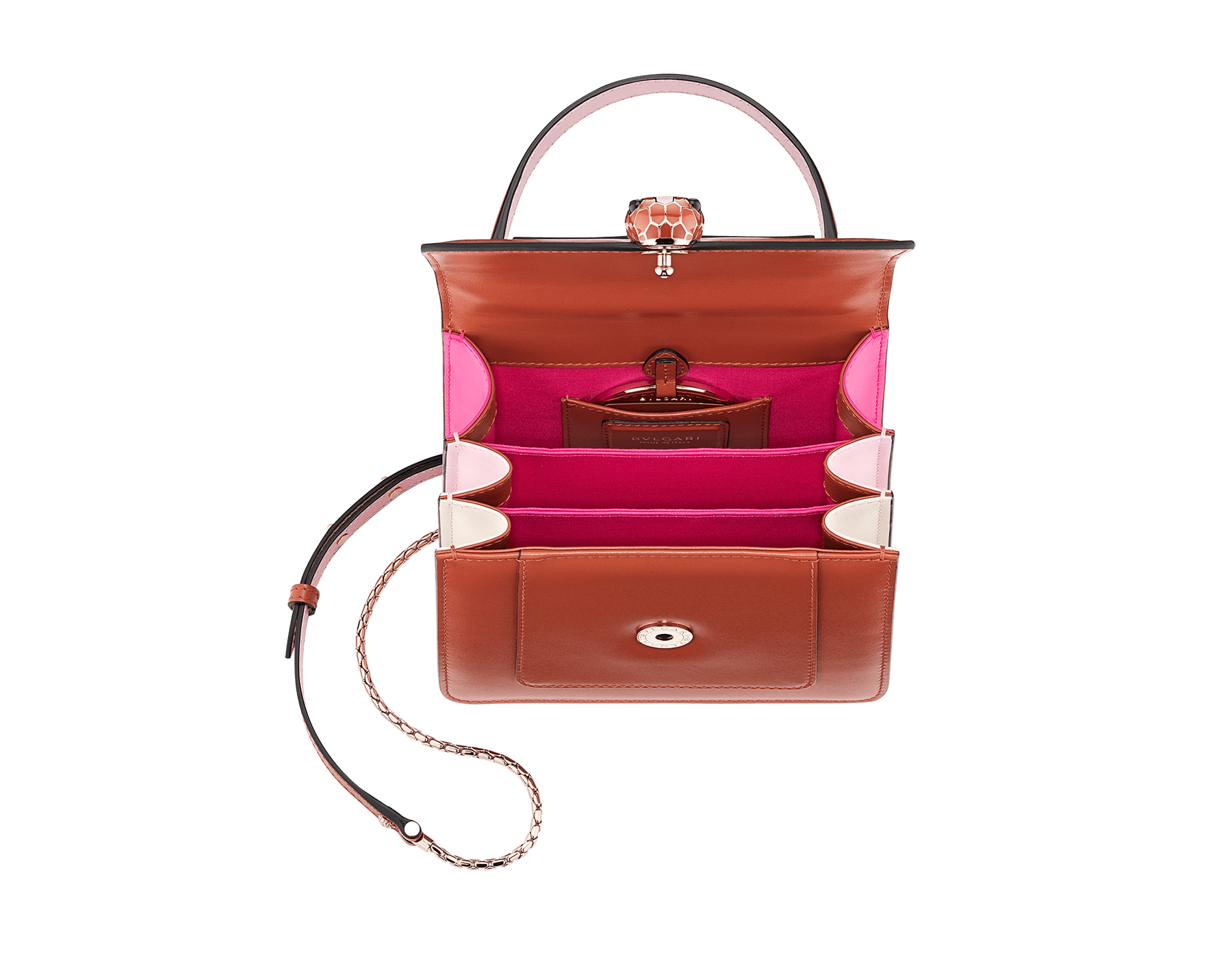 Serpenti Forever crossbody bag in imperial topaz calf leather with Roman garnet, rosa di francia and white agate calf leather sides. Iconic snakehead closure in light gold plated brass embellished with imperial topaz and rosa di francia enamel and black onyx eyes. 288889 image 5