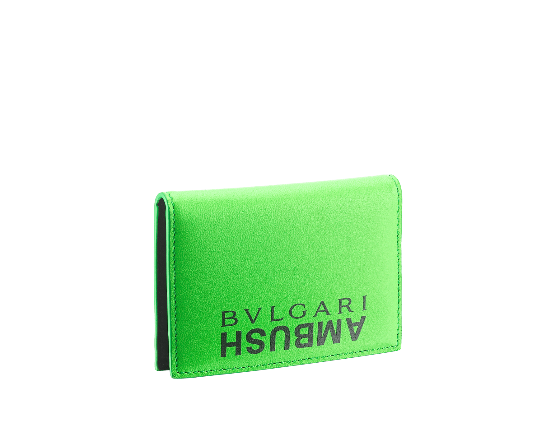 """Ambush x Bvlgari"" vertical card holder in bright green and black nappa leather, palladium-plated brass ""BVLGARI AMBUSH"" décor on one side and special ""BVLGARI AMBUSH"" logo print on the other. Limited Edition. 290359 image 3"