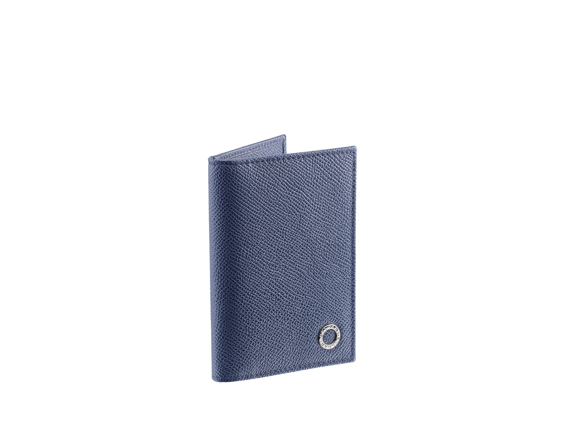 Folded credit card holder in denim sapphire calf leather with brass palladium plated Bulgari Bulgari motif. Six credit card slots and two compartments. Also available in other colours. 8 x 11,5 cm. - 3.1 x 4.5 280294 image 1