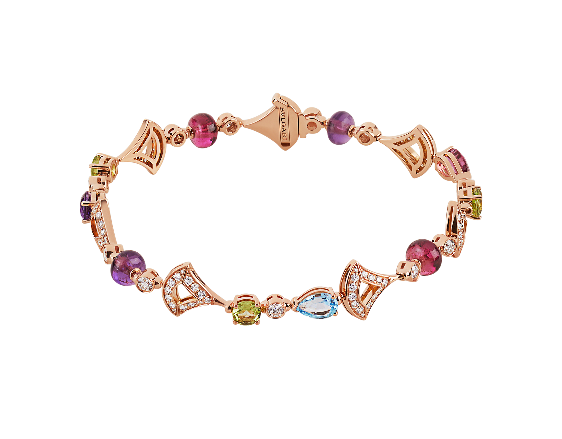 Bracelet DIVAS' DREAM en or rose 18 K serti de pierres de couleur et pavé diamants BR858404 image 1