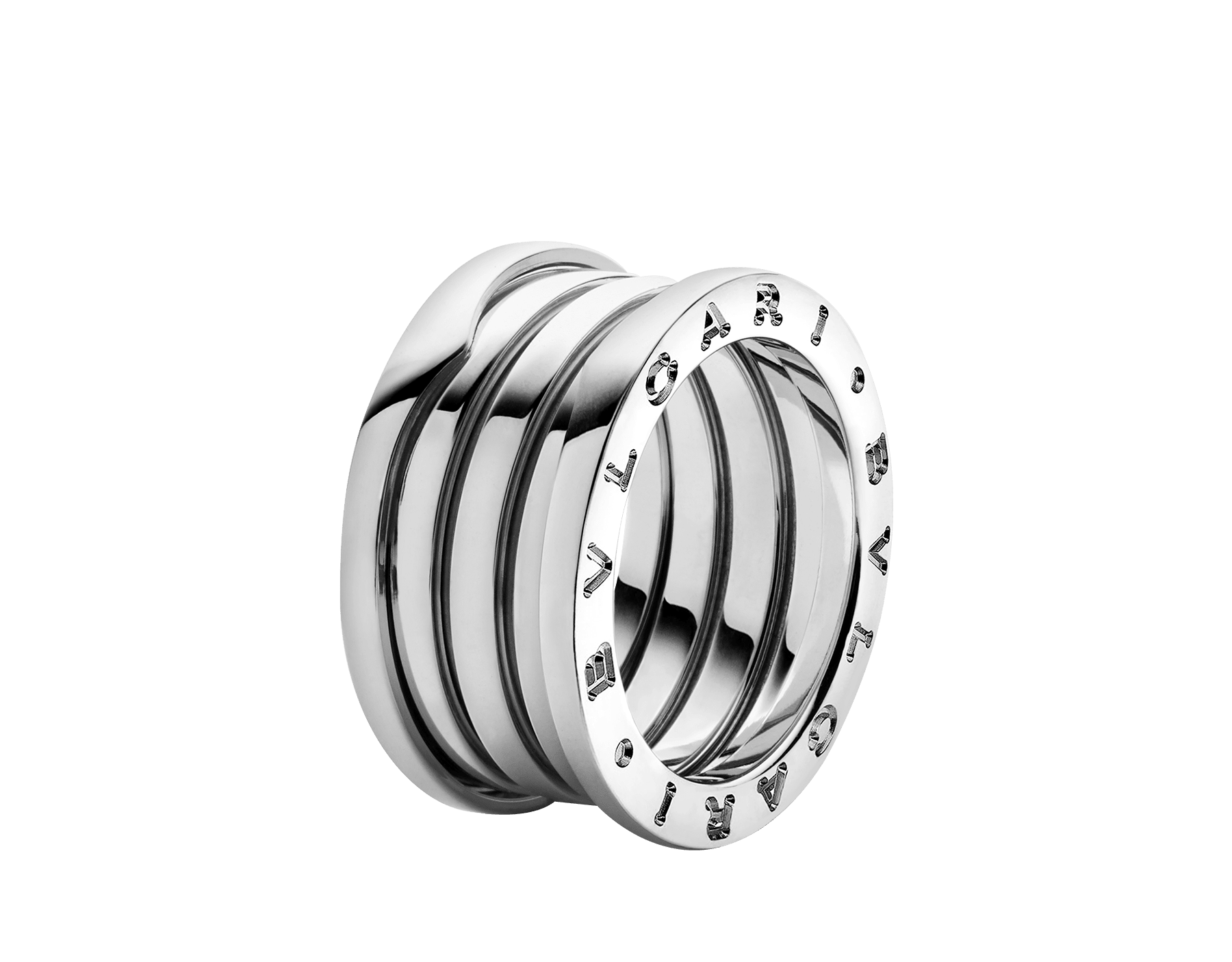 B.zero1 four-band ring in 18 kt white gold. B-zero1-4-bands-AN191026 image 1