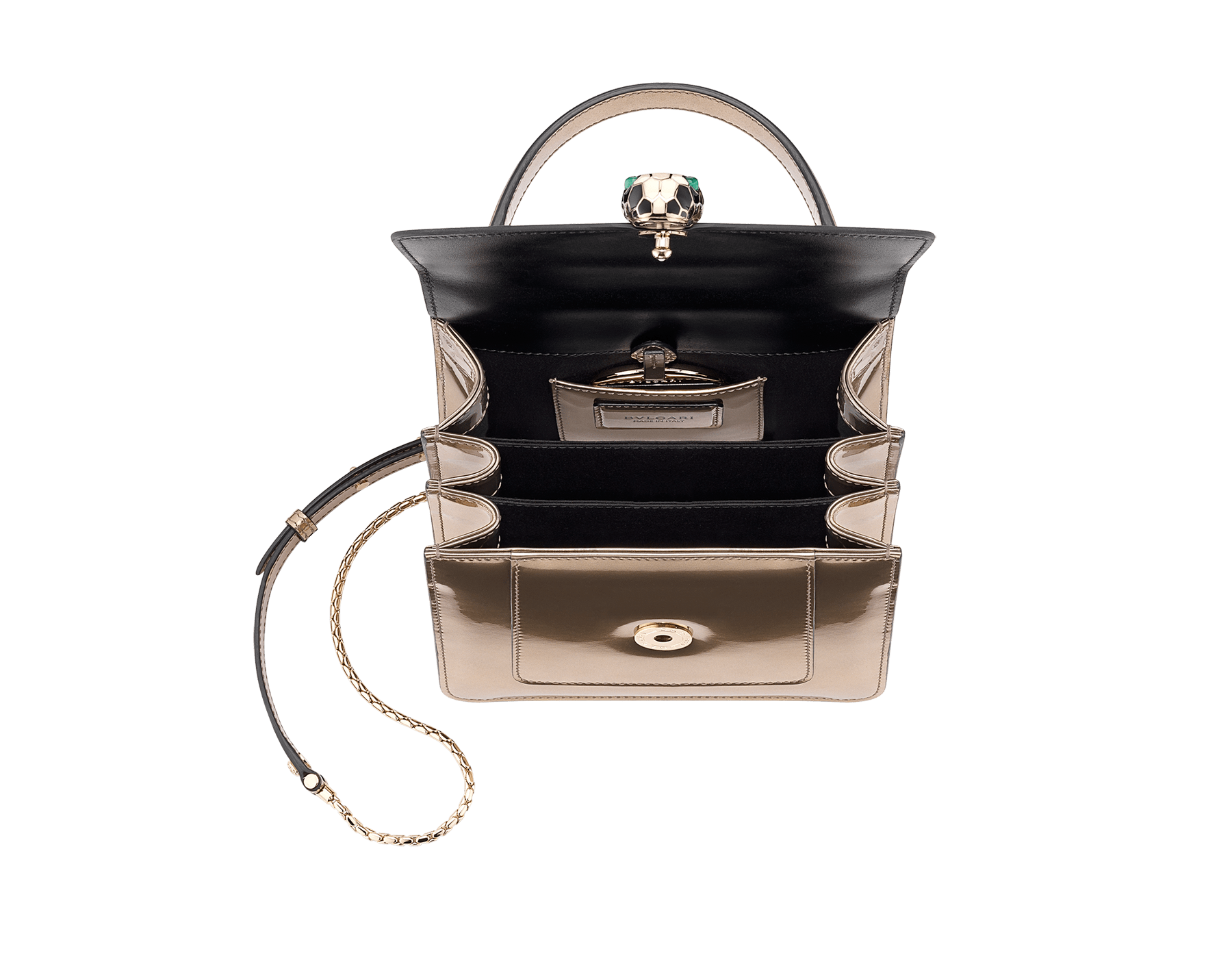 Flap cover bag Serpenti Forever in antique bronze brushed metallic calf leather. Brass light gold plated hardware and snake head closure in black and white enamel with eyes in green malachite. Test-Borse-Colore image 4