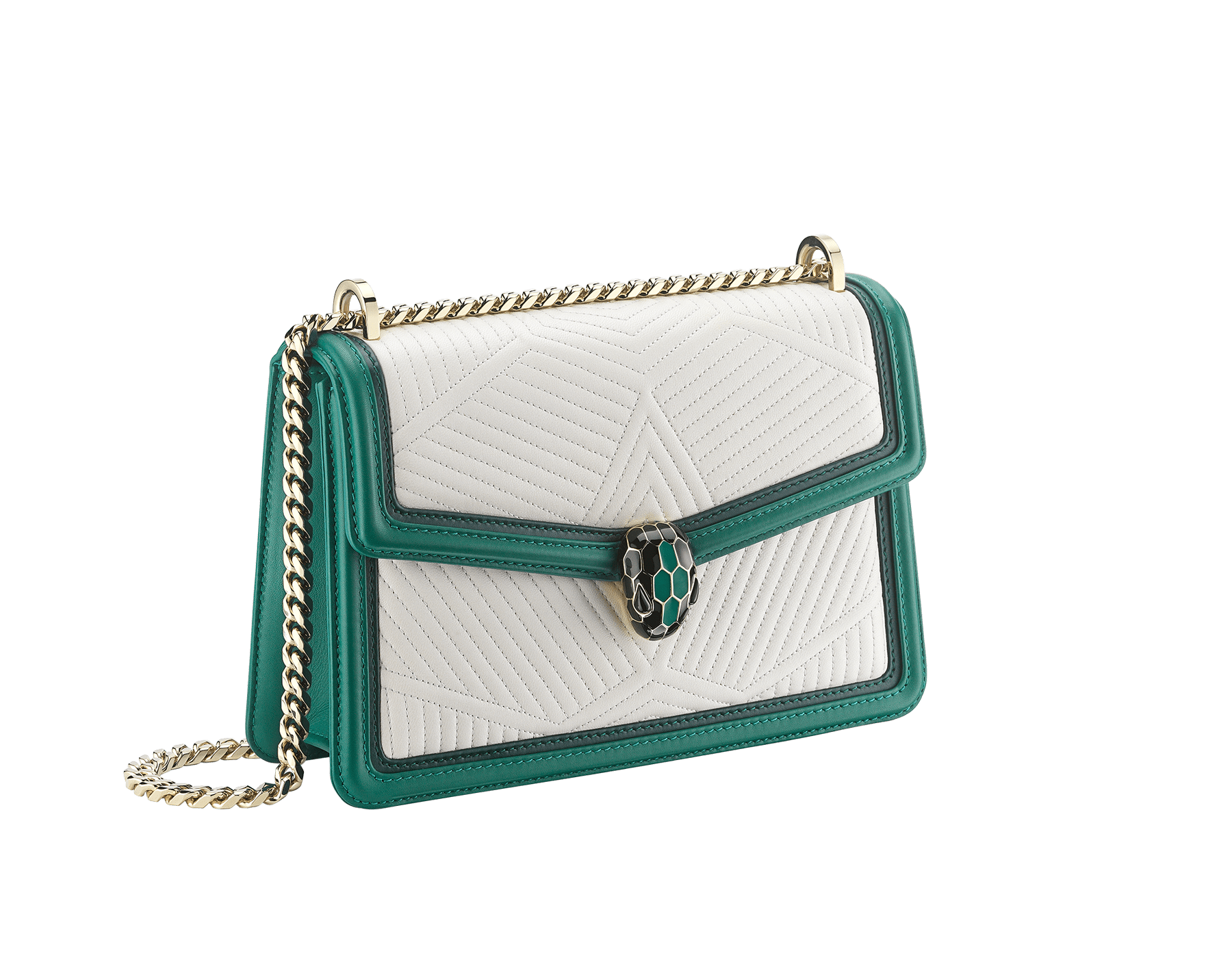 """Serpenti Diamond Blast"" shoulder bag in mimetic jade quilted nappa leather and mimetic jade smooth calf leather frames. Iconic snakehead closure in light gold plated brass enriched with matte black and shiny mimetic jade enamel and black onyx eyes. 922-FQDf image 2"