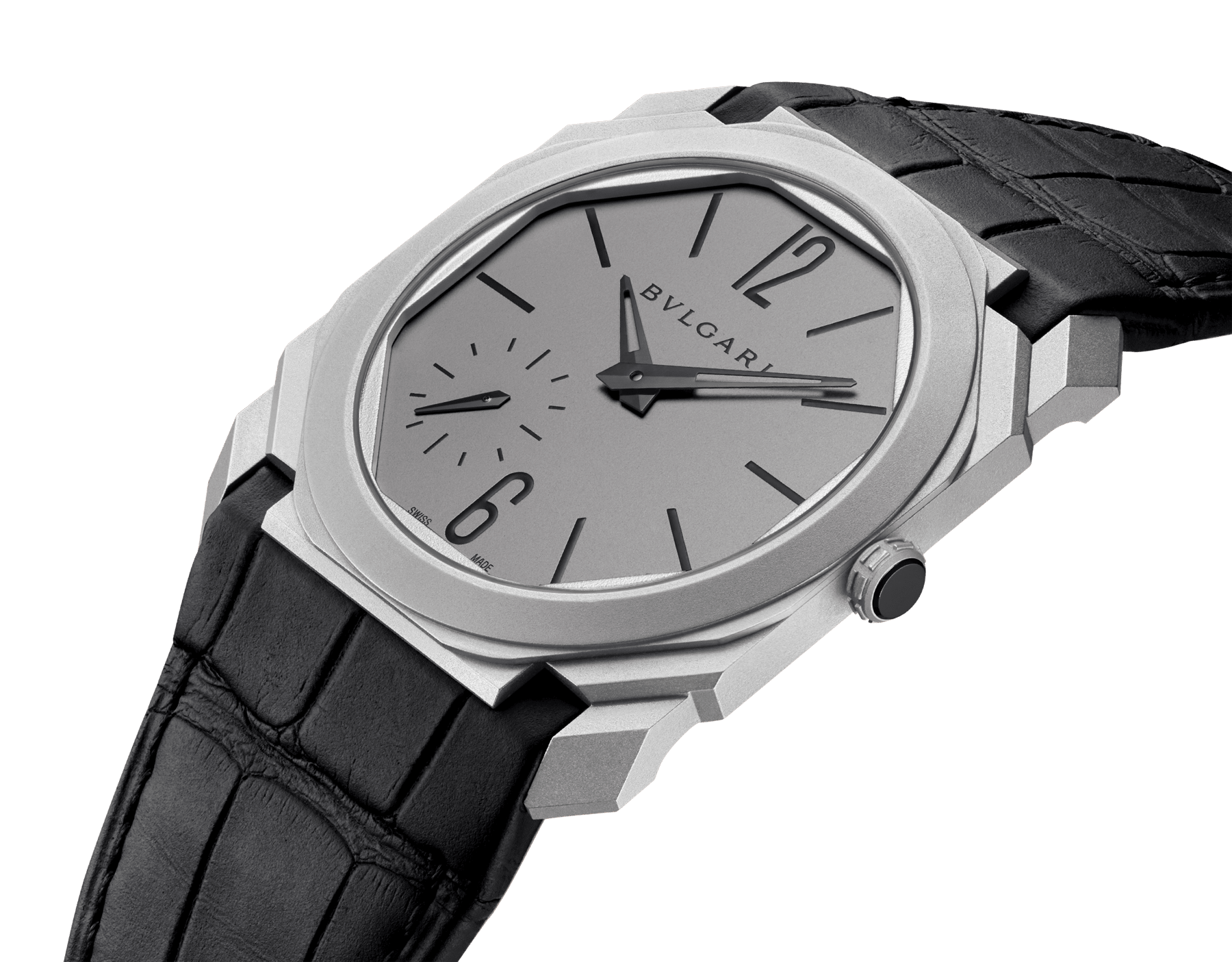 Octo Finissimo Automatic watch with extra thin mechanical manufacture movement, automatic winding and small seconds, titanium case and dial, black alligator bracelet. 102711 image 2