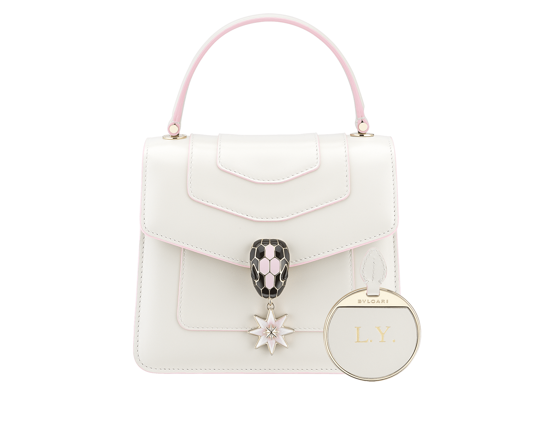 Serpenti Forever Holiday Season crossbody bag in white agate calf leather, bronze and silver brushed metallic calf leather. Snakehead closure in light gold plated brass embellished with black and sakura pink enamel, black onyx eyes and a pink opal eight-pointed star charm. 289372 image 3
