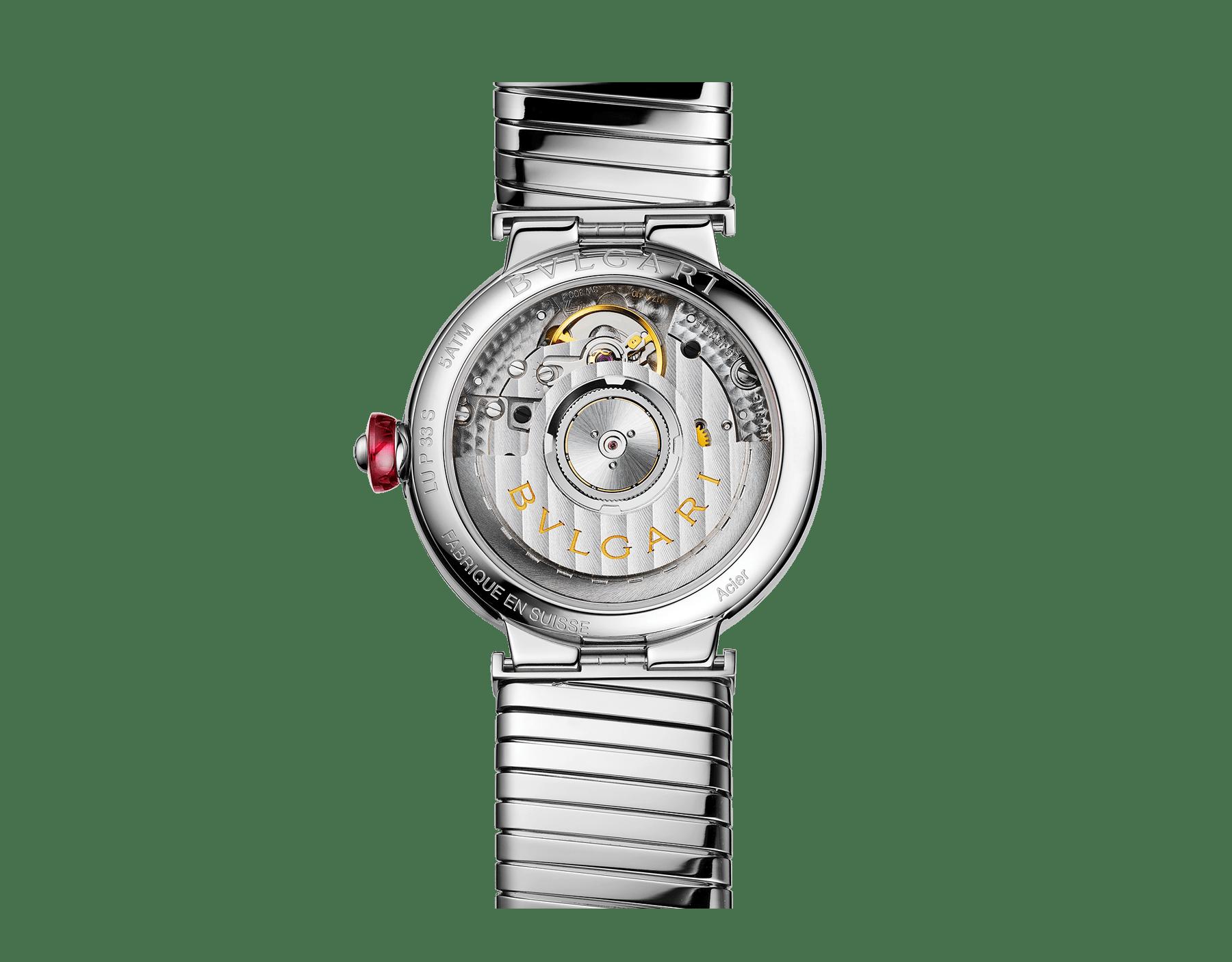 Montre LVCEA Tubogas avec boîtier et bracelet Tubogas en acier inoxydable, cadran laqué noir et index sertis de diamants 102953 image 3