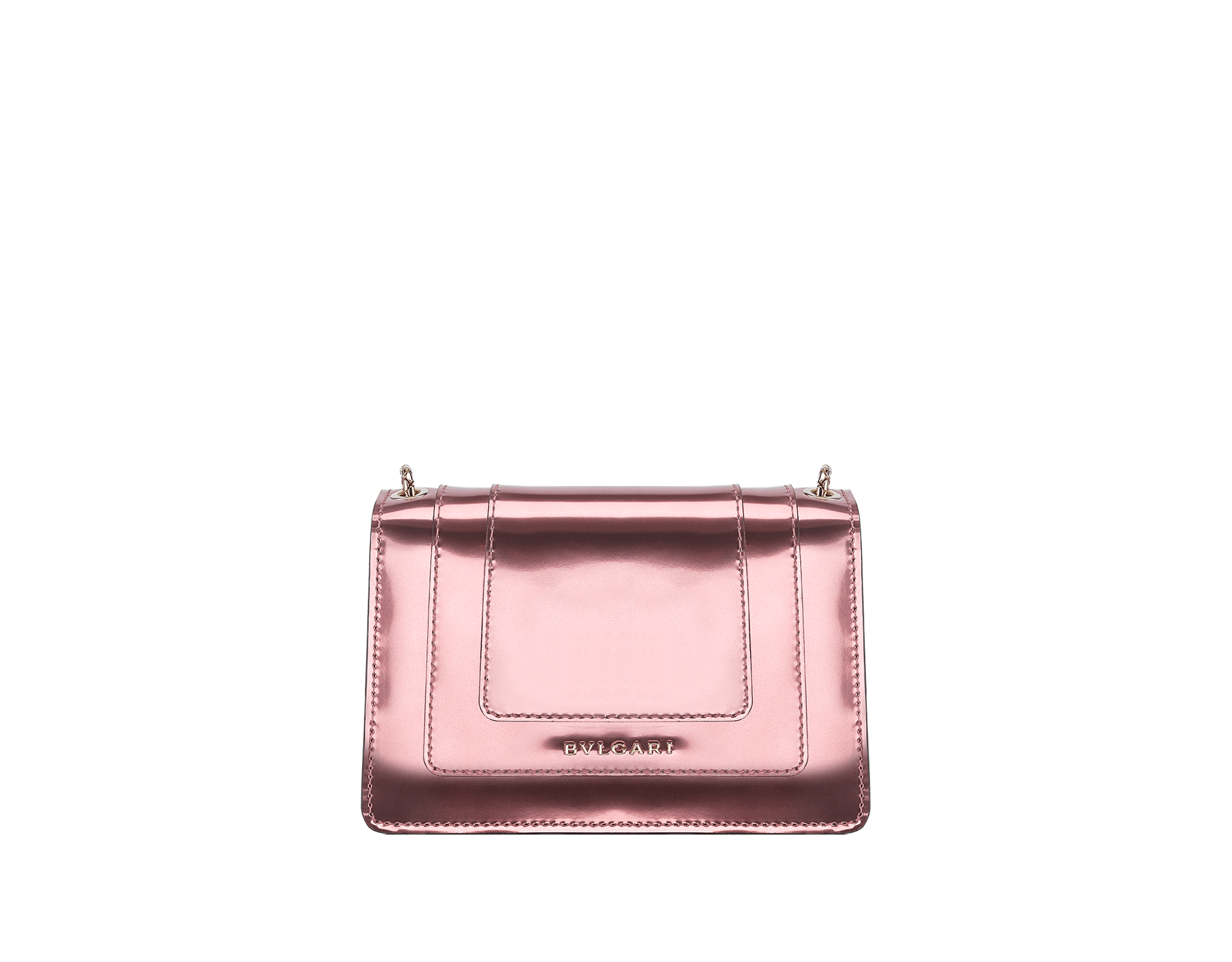 Serpenti Forever mini crossbody bag in sunset rose brushed metallic calf leather. Brass light gold-plated snake head closure in black and white enamel, with green malachite eyes. 288052 image 3