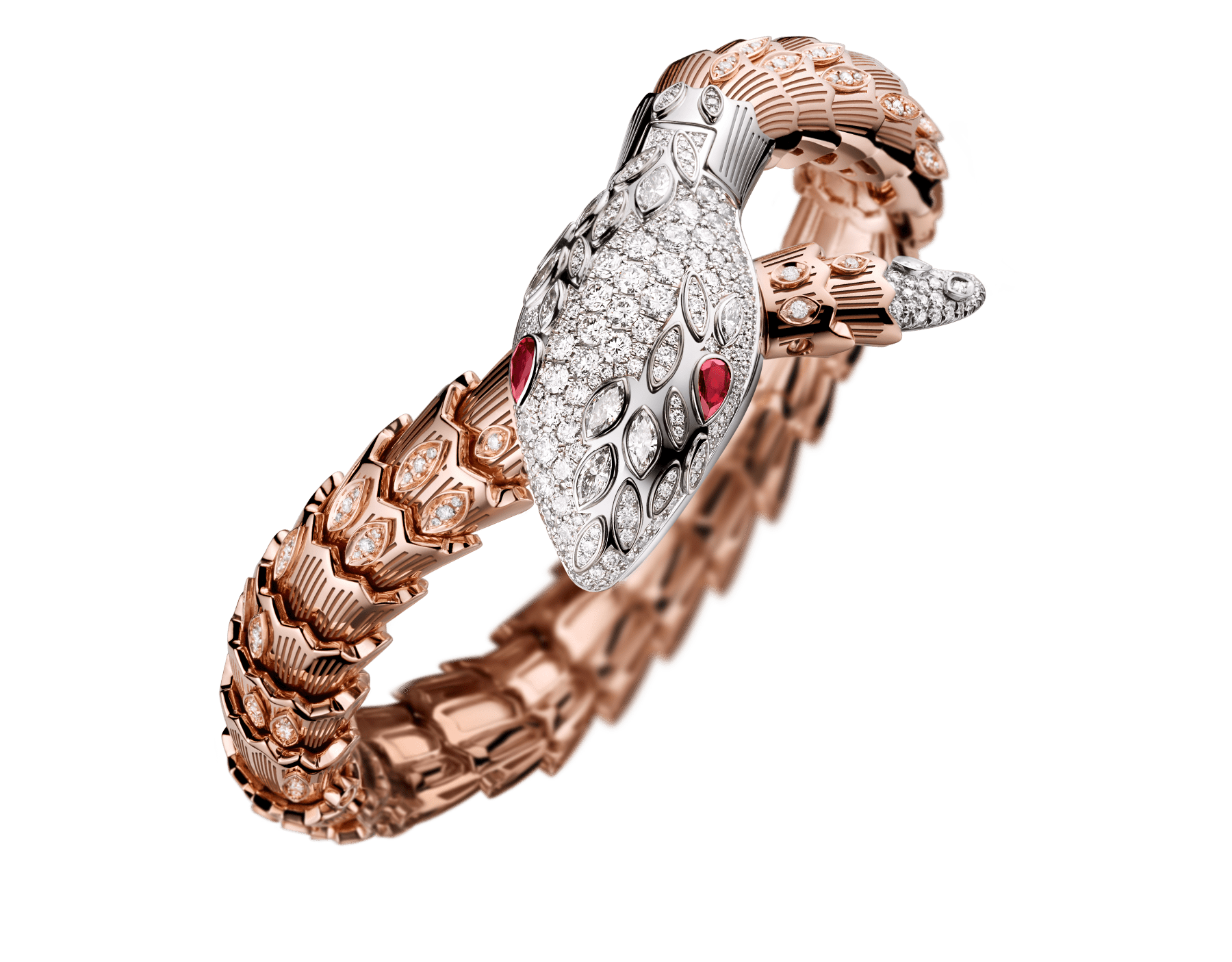 Serpenti Secret Watch with 18 kt white gold head set with brilliant cut and marquise cut diamonds and ruby eyes, 18 kt white gold case, 18 kt white gold dial set with brilliant cut diamonds, single spiral bracelet in 18 kt rose and white gold, set with brilliant cut diamonds. 102239 image 2