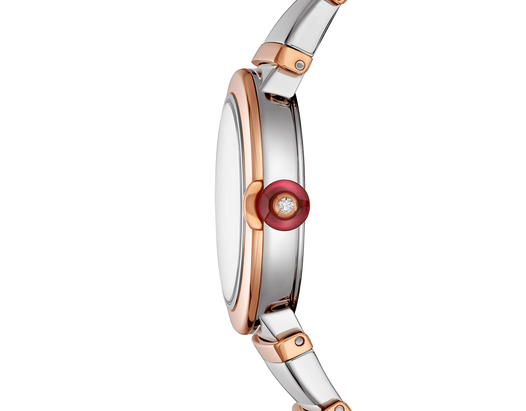 LVCEA watch in 18 kt rose gold and stainless steel case and bracelet, white mother-of-pearl dial and diamond indexes. 102194 image 3