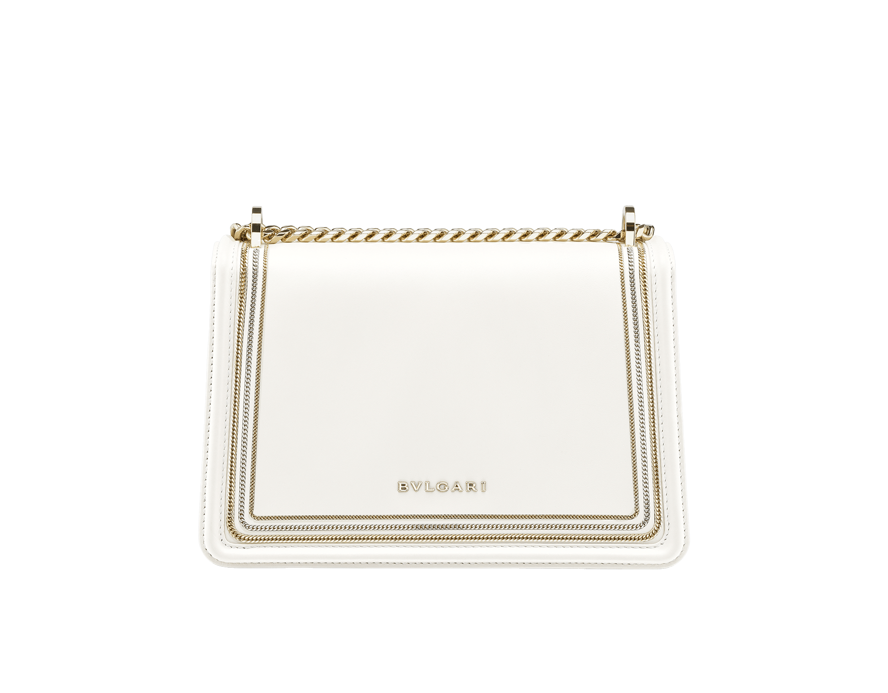 """""""Serpenti Diamond Blast"""" shoulder bag in black smooth calf leather, featuring a 3-Chain motif in light gold and palladium finishing. Iconic snakehead closure in light gold plated brass enriched with black and white enamel and black onyx eyes 922-3CFCL image 3"""