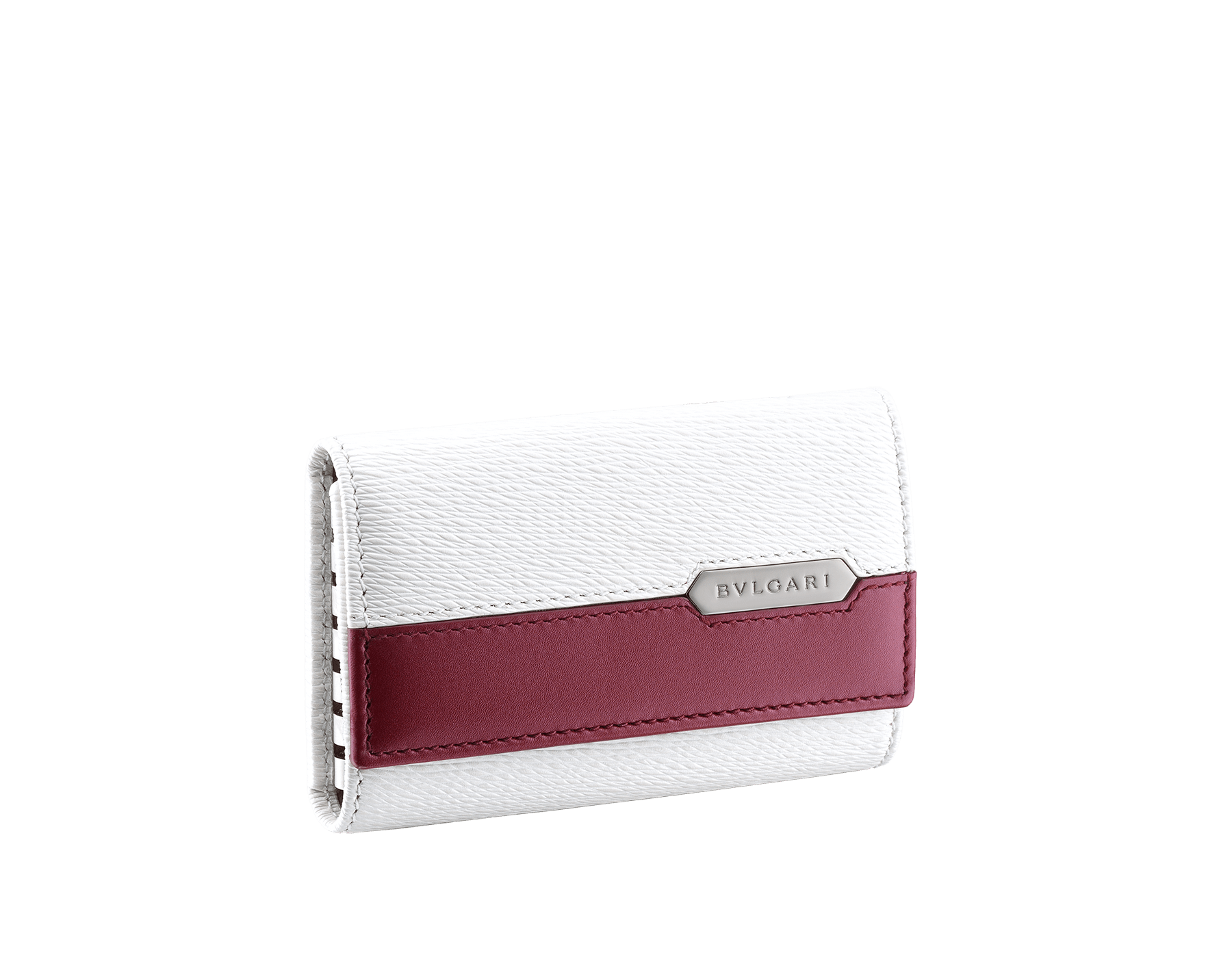 Serpenti Scaglie men's key holder in white agate grazed calf leather and roman garnet calf leather. Bvlgari logo engraved on the hexagonal scaglie metal plate finished in dark ruthenium. 288461 image 1