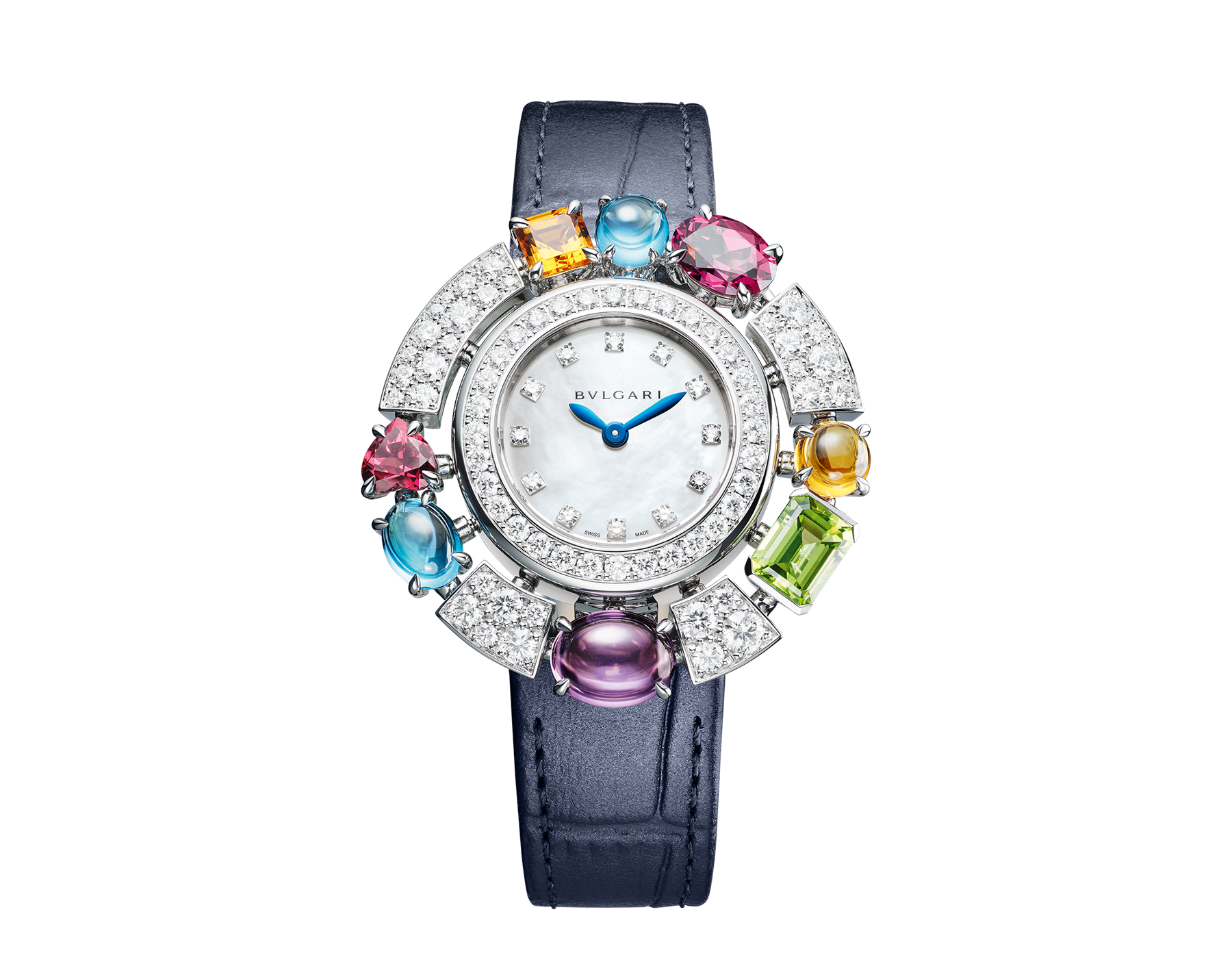 Allegra High Jewellery watch with 18 kt white gold case set with brilliant-cut diamonds, two citrines, an amethyst, a peridot, two blue topazes and two rhodolite, mother-of-pearl dial, diamond indexes and blue alligator bracelet. Water resistant up to 30 metres 103499 image 1