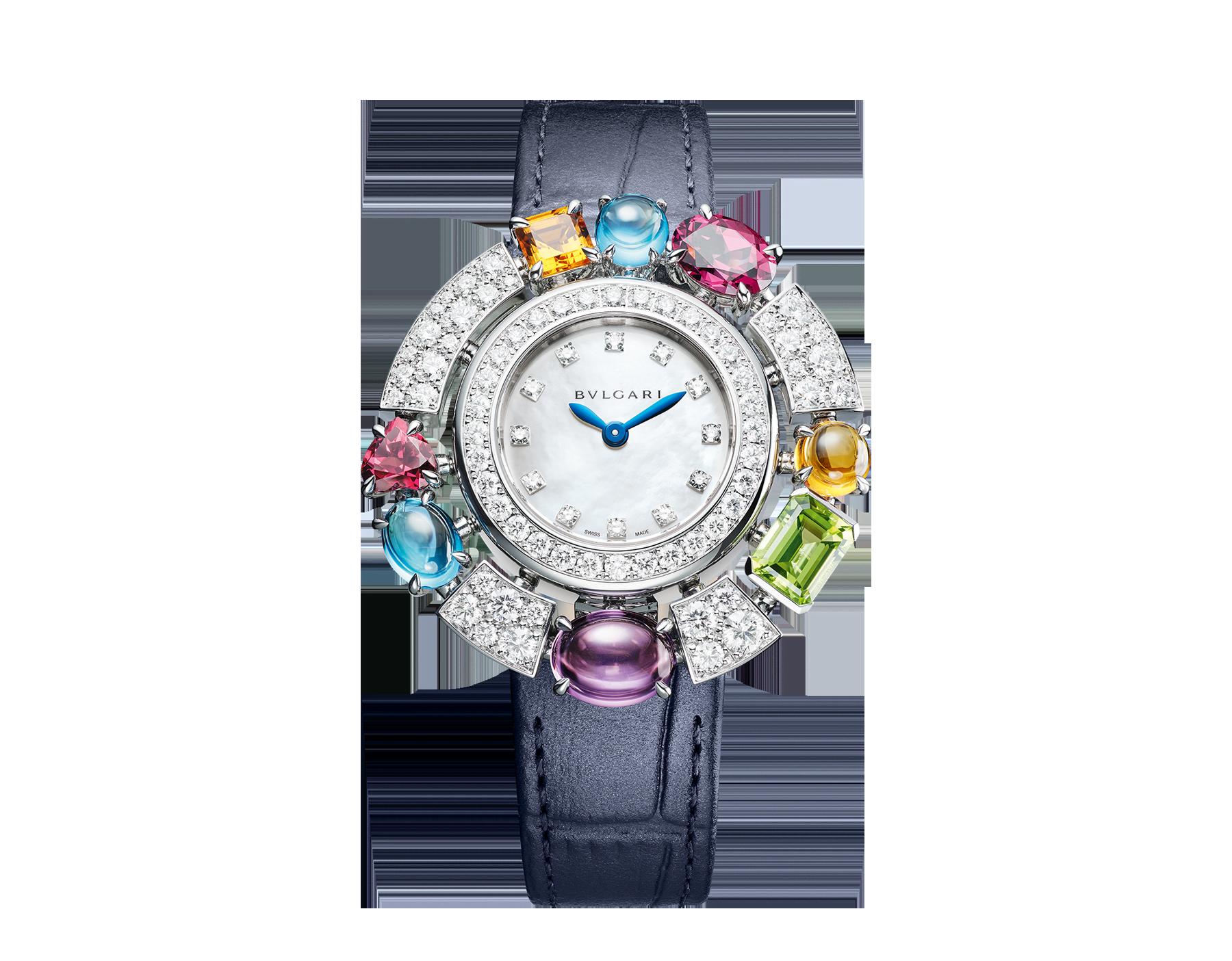 Allegra High Jewellery 頂級珠寶腕錶,18K 白金錶殼鑲飾明亮型切割鑽石、2 顆黃水晶、1 顆紫水晶、1 顆橄欖石、2 顆藍色拓帕石、2 顆玫瑰榴石。珍珠母貝錶盤,鑽石時標,藍色亮面鱷魚皮錶帶。防水深度 30 公尺。 103499 image 1