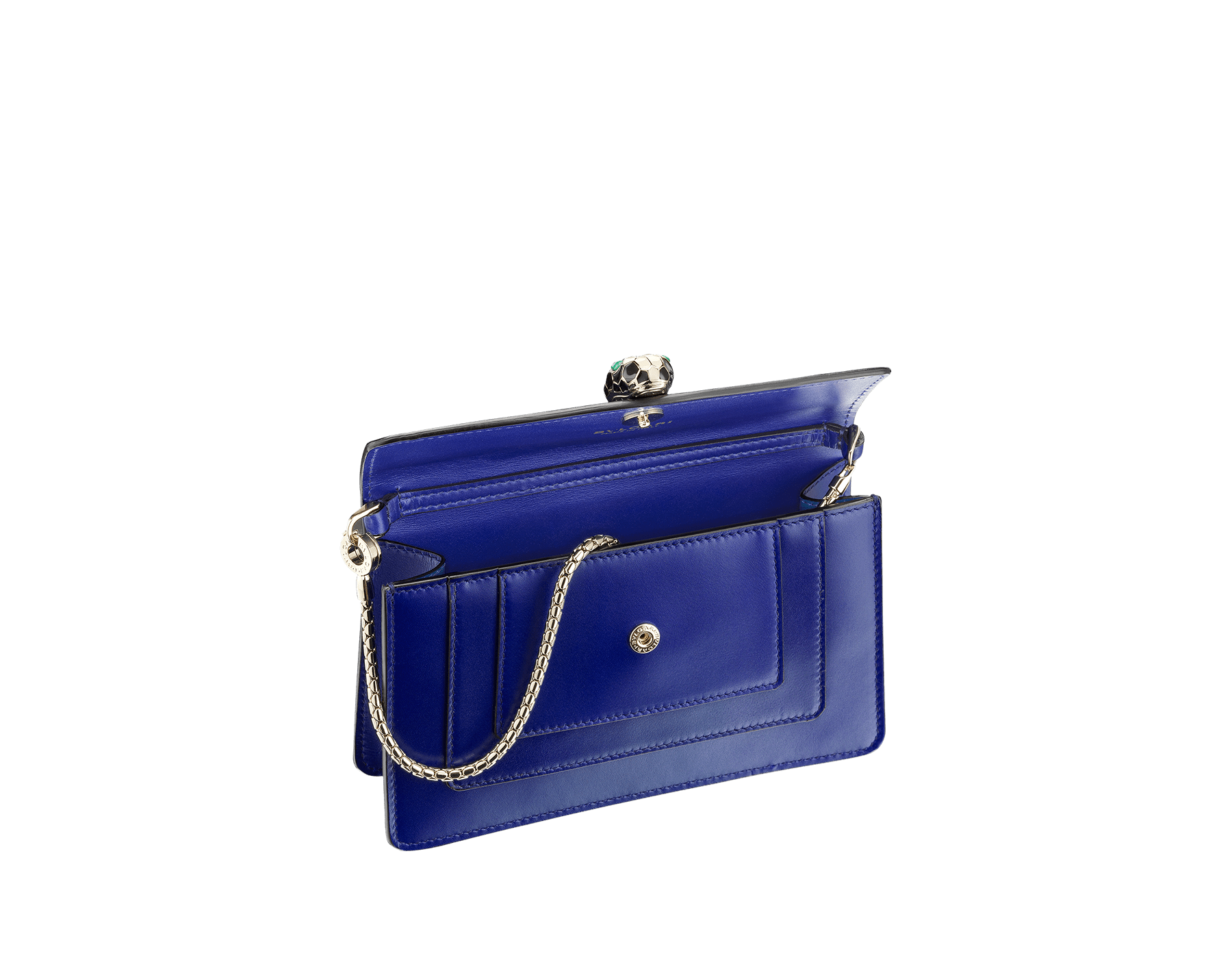 Mini Serpenti Forever bag in royal sapphire calf leather and teal topaz calf leather lining. Brass light gold plated Serpenti head stud closure in black and white enamel with malachite eyes. 283239 image 2