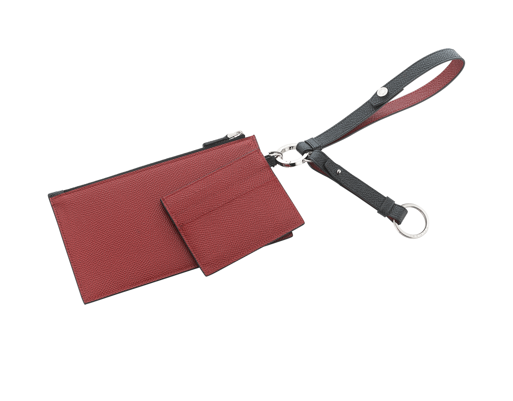 BVLGARI BVLGARI phone and credit card holder in black and ruby red calf leather. Brass palladium plated and black calf leather keyholder and black calf leather strap. 289388 image 2