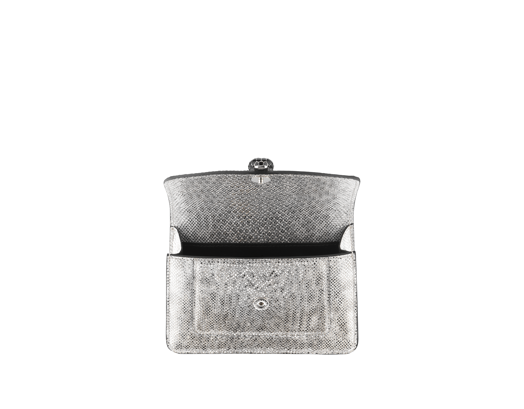 """Serpenti Forever"" micro pochette in white agate metallic karung skin and black nappa leather. Iconic palladium plated brass snakehead stud closure enameled in matte and shiny black and finished with black enamel eyes. SEA-XSPOCHETTE image 2"