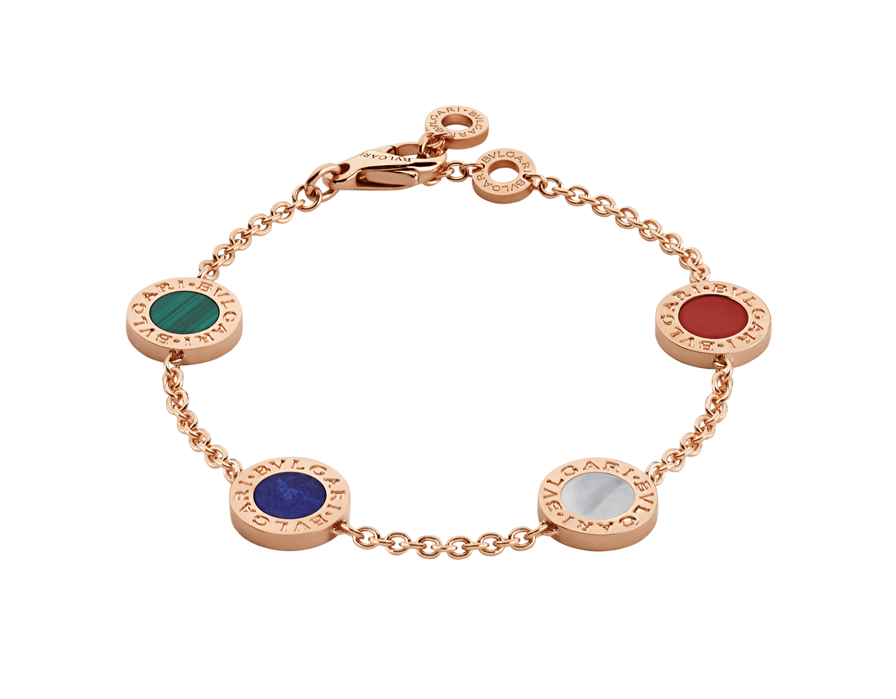 BVLGARI BVLGARI 18 kt rose gold bracelet set with carnelian, lapis, malachite and mother of pearl elements BR857842 image 1
