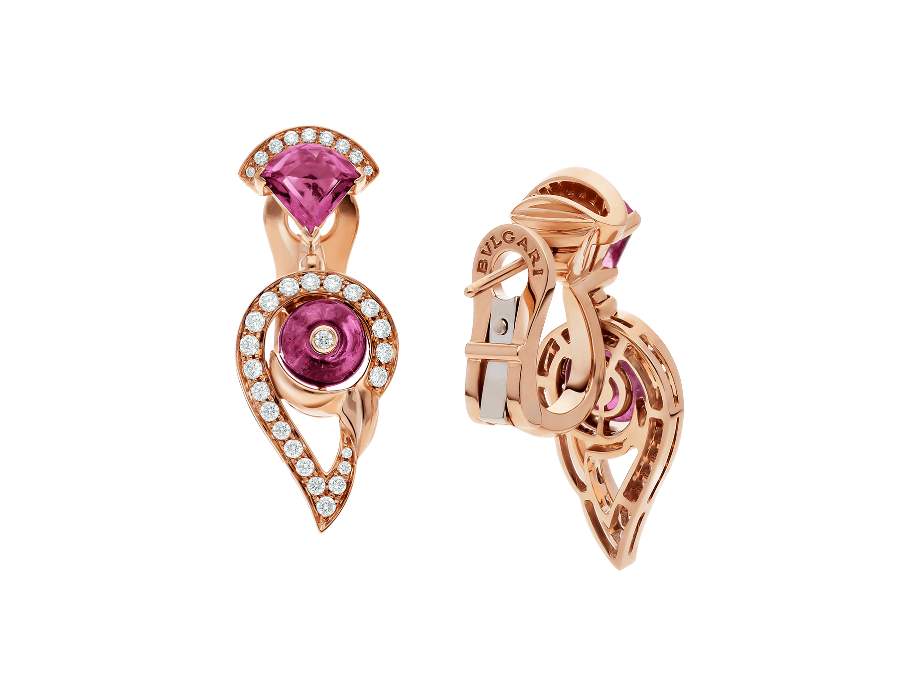 Boucles d'oreille DIVAS' DREAM en or rose 18 K serties de rubellite rose et tourmaline rose avec pavé diamants. 354079 image 3