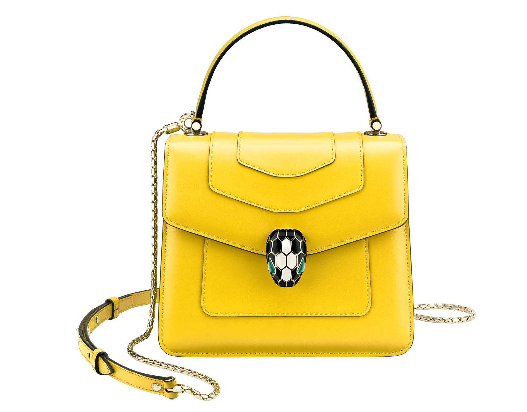 """Serpenti Forever "" crossbody bag in daisy topaz calf leather. Iconic snake head closure in light gold plated brass enriched with black and white agate enamel and green malachite eyes. 289660 image 1"