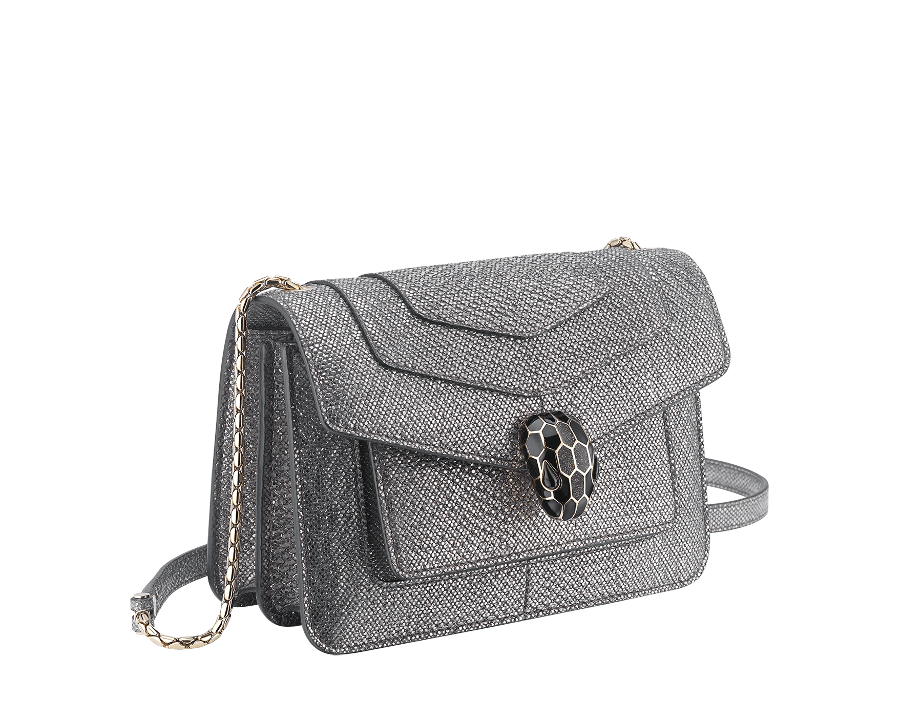 """Serpenti Forever"" crossbody bag in charcoal diamond metallic karung skin. Iconic snakehead closure in light gold plated brass enriched with black and glitter hawk's eye enamel and black onyx eyes. 1082-MK image 2"