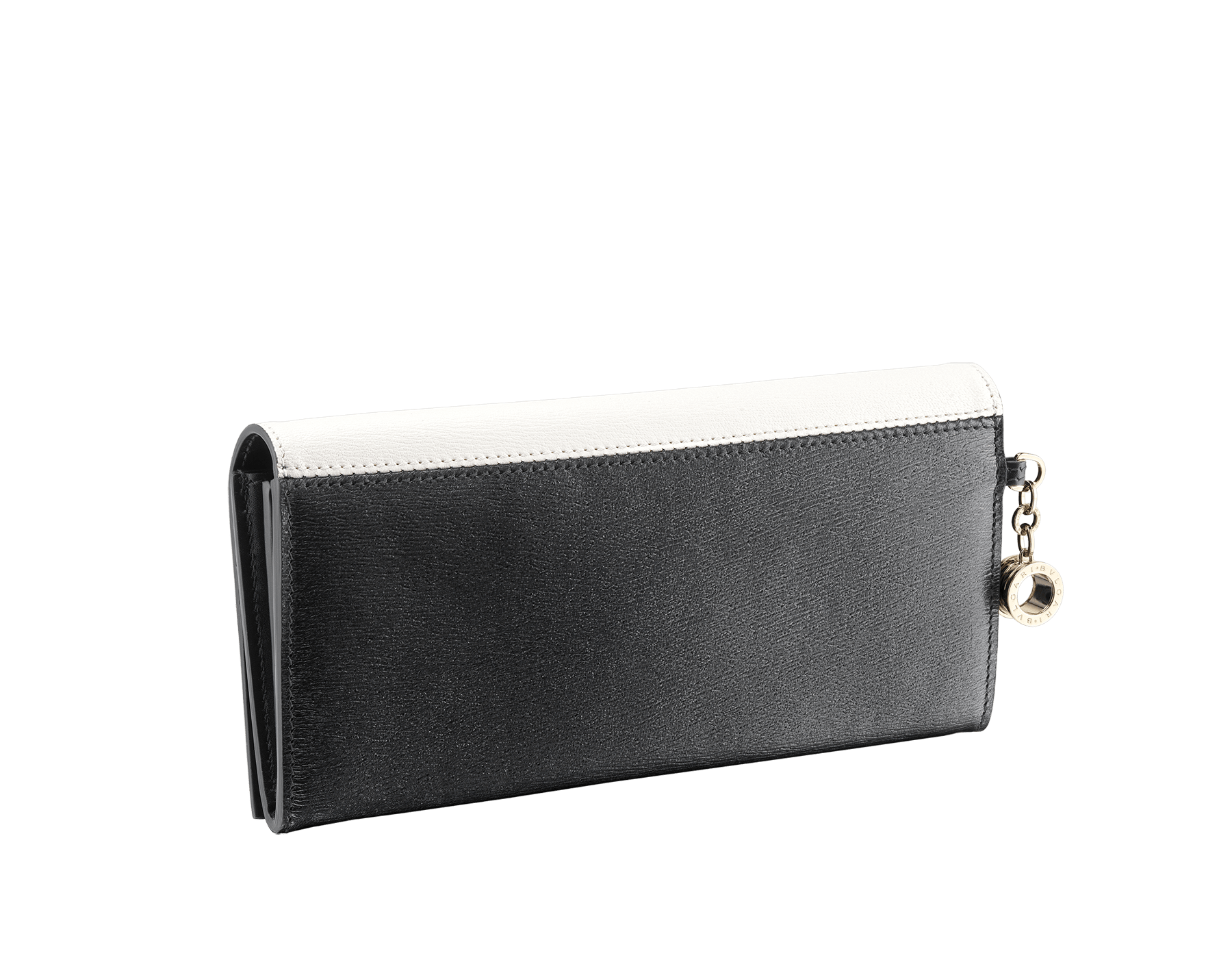B.zero1 wallet pochette in white and black goatskin. Iconic B.zero1 charm in light gold plated brass and closure clip. 288231 image 6