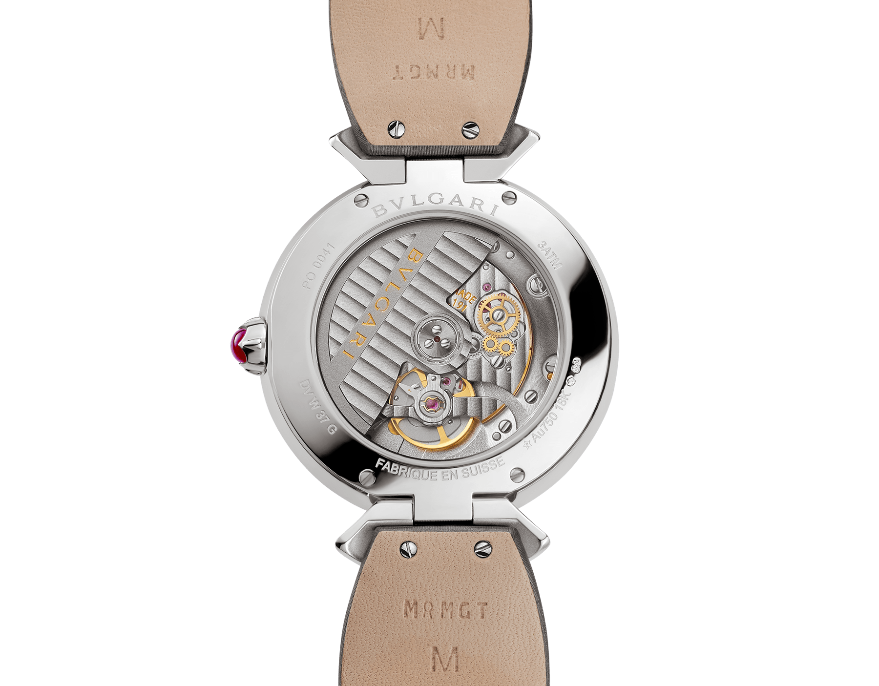 DIVAS' DREAM watch with 18 kt white gold case set with brilliant-cut diamonds, acetate dial, diamond indexes and grey satin bracelet 102576 image 4