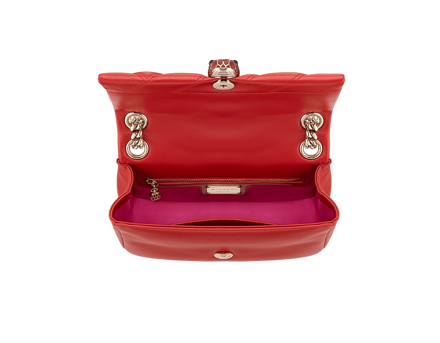 Serpenti Cabochon shoulder bag in soft matelassè roman garnet nappa leather, with a graphic motif, and roman garnet calf leather. Brass light gold plated tempting snake head closure in matte roman garnet and shiny roman garnet enamel and black onyx eyes. 981-NSM image 4