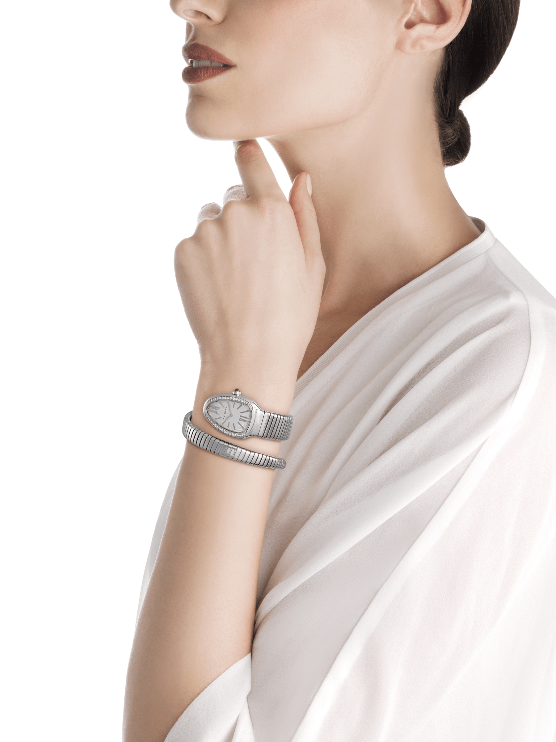 Serpenti Tubogas single spiral watch in stainless steel case and bracelet, bezel set with brilliant cut diamonds and silver opaline dial. Large Size. SrpntTubogas-white-dial2 image 4