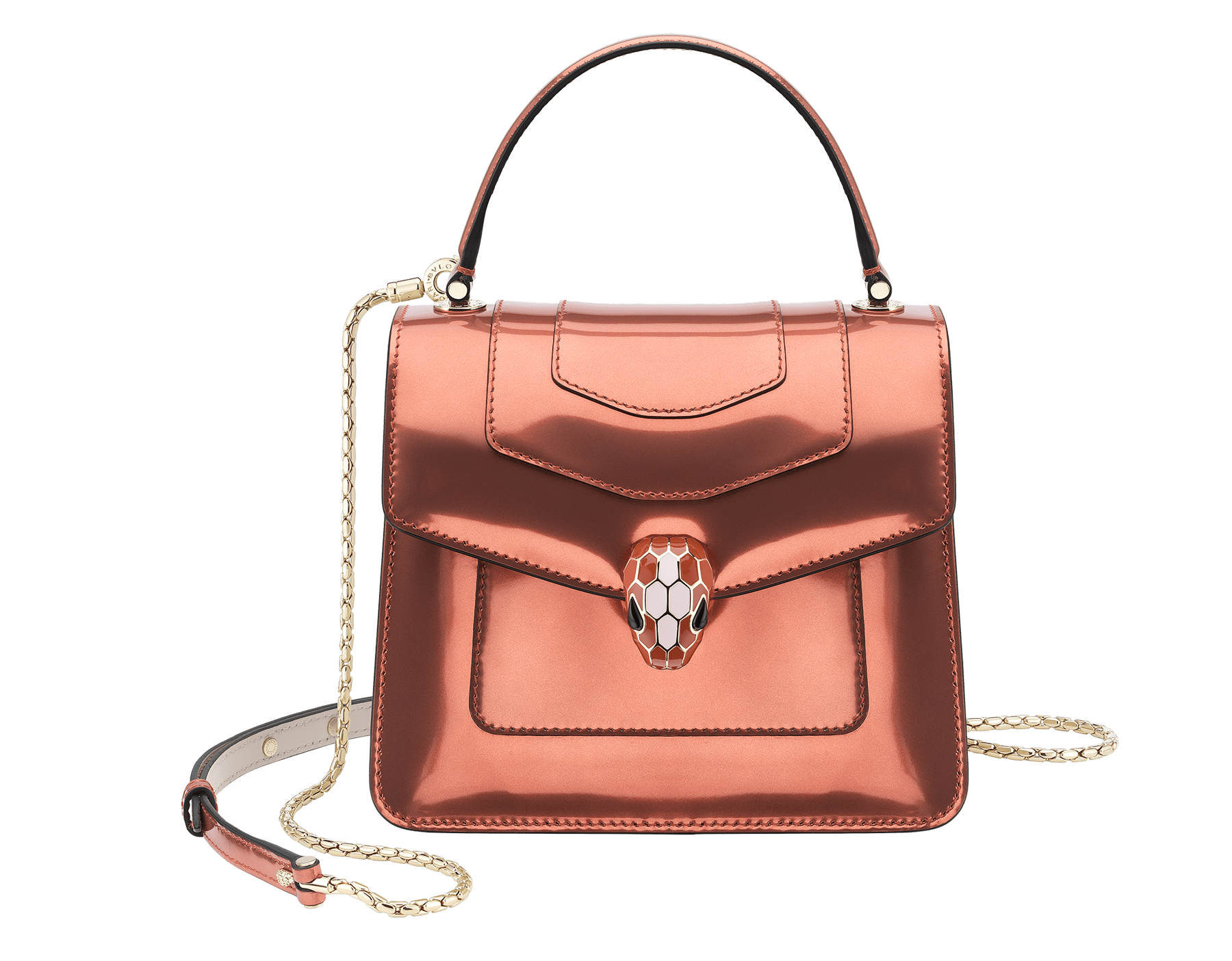 Serpenti Forever crossbody bag in imperial topaz brushed metallic calf leather with Roman garnet, rosa di francia and white agate calf leather sides. Iconic snakehead closure in light gold plated brass embellished with imperial topaz and white enamel and black onyx eyes. 752-NBMCL image 1