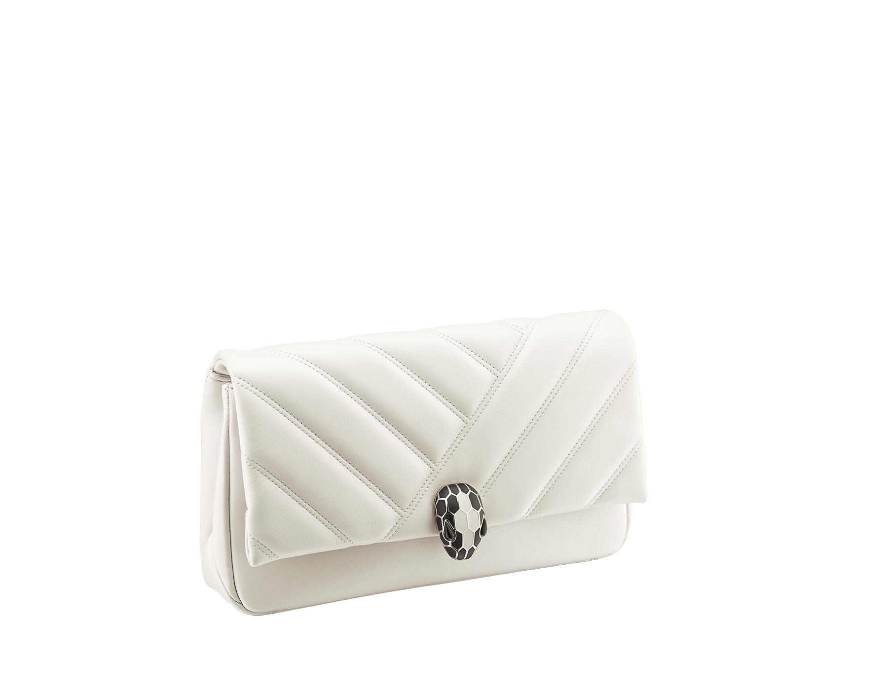 Serpenti Cabochon clutch bag in soft matelassé white calf leather, with a graphic motif. Brass light gold plated tempting snake head closure in black and white enamel and black onyx eyes. 289302 image 2