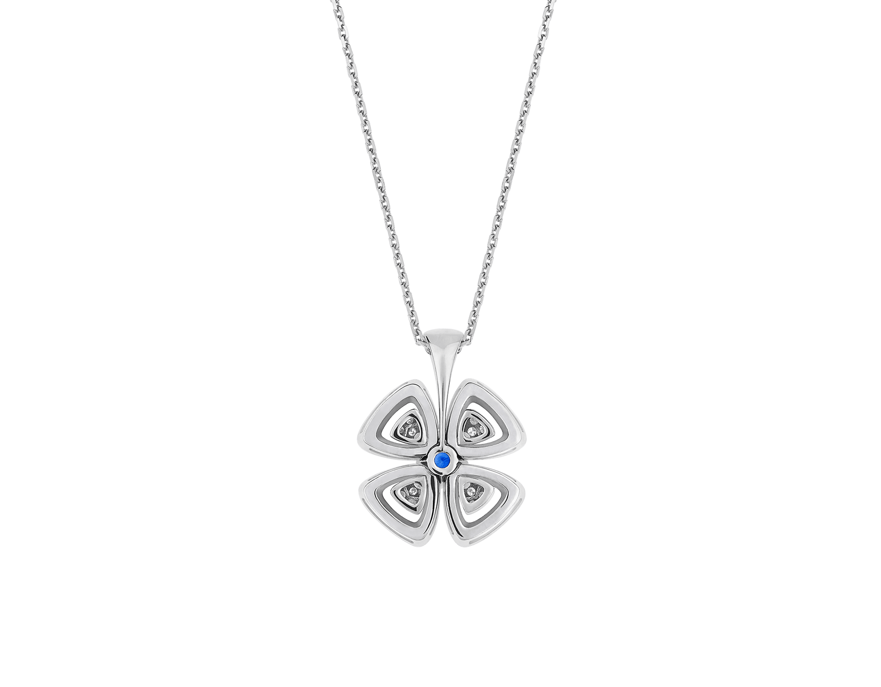Fiorever 18 kt white gold pendant necklace set with a central brilliant-cut sapphire (0.43 ct) and pavé diamonds (0.31 ct) 358426 image 4