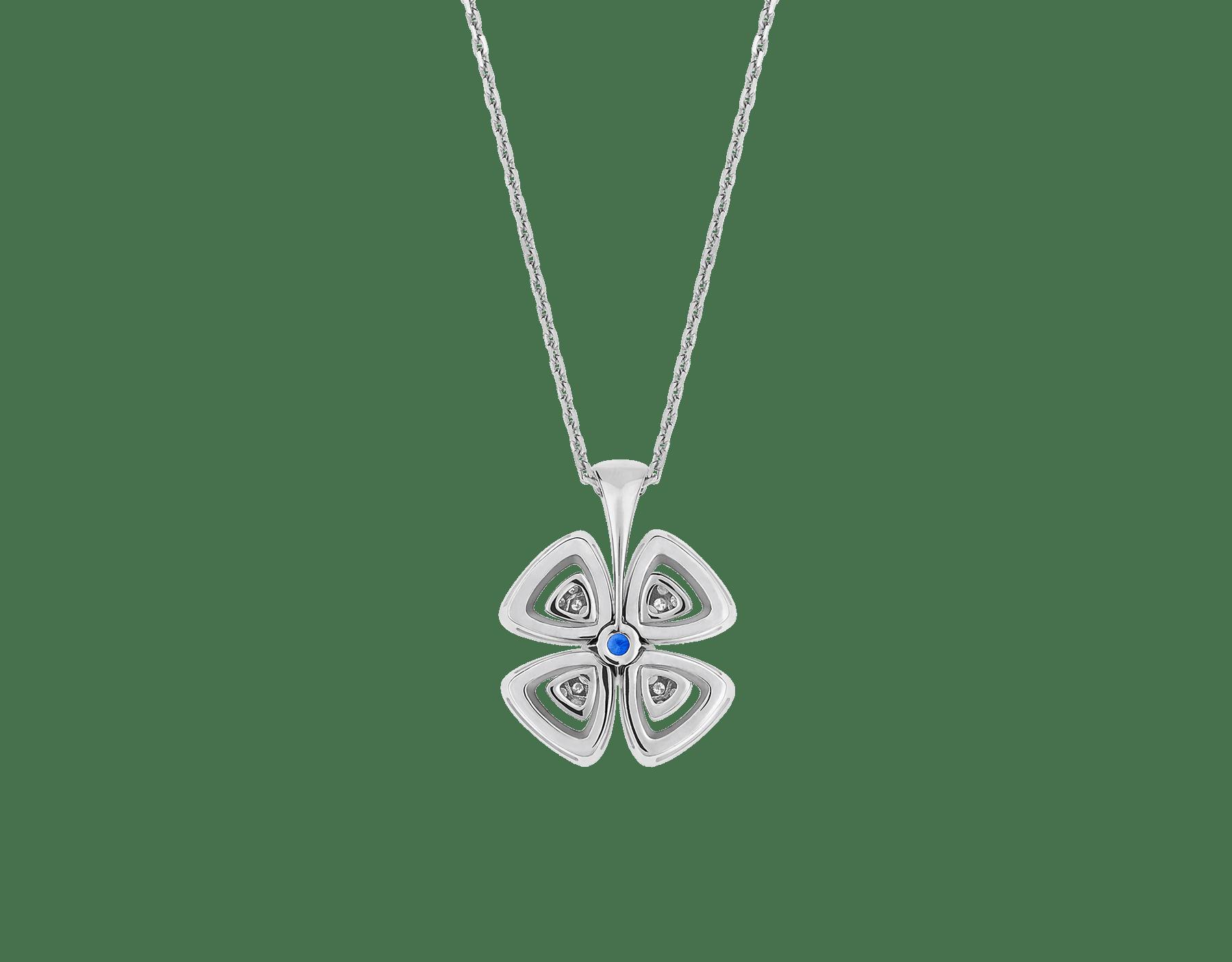 Fiorever 18K 白金項鍊,鑲飾 1 顆明亮型切割藍寶石(0.43 克拉)和密鑲鑽石(0.31 克拉)。 358426 image 4