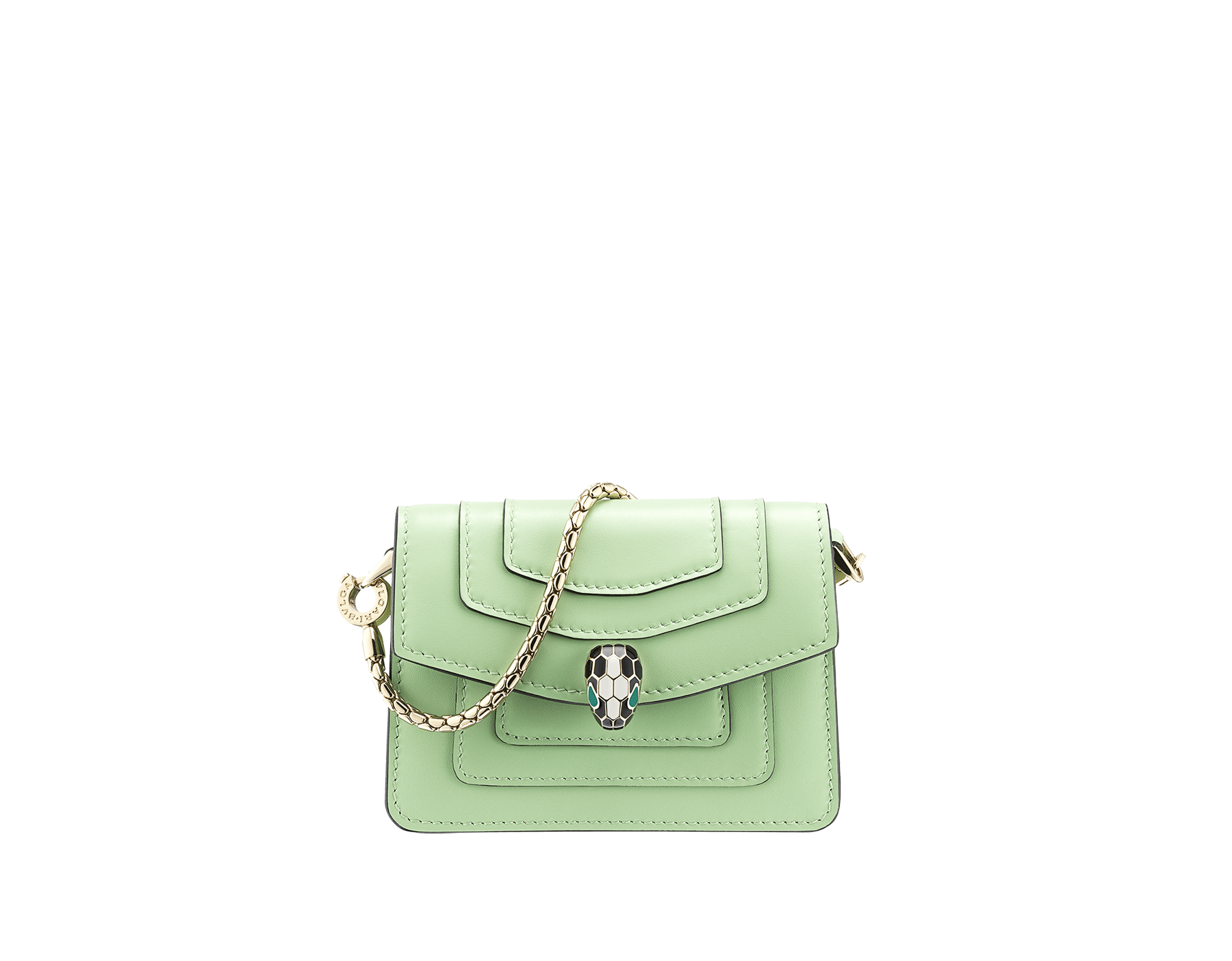 """Serpenti Forever"" miniature bag charm in mint and taffy quartz calf leather. Iconic brass light gold plated snakehead stud closure enamelled in black and white agate and finished with emerald green enamel eyes. 289877 image 1"