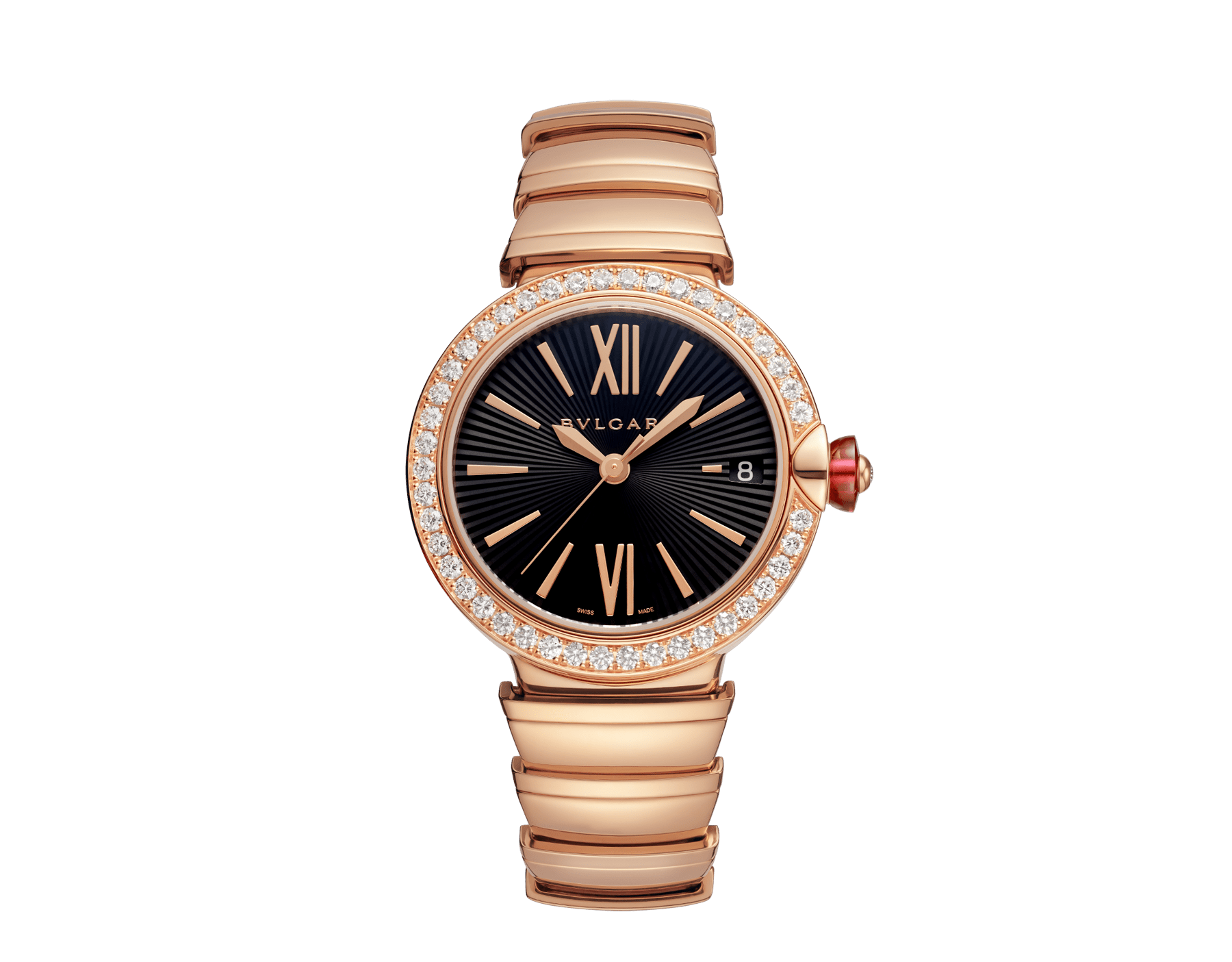 LVCEA watch with 18 kt rose gold and brilliant-cut diamond case, black opaline dial and 18 kt rose gold bracelet. 102260 image 1