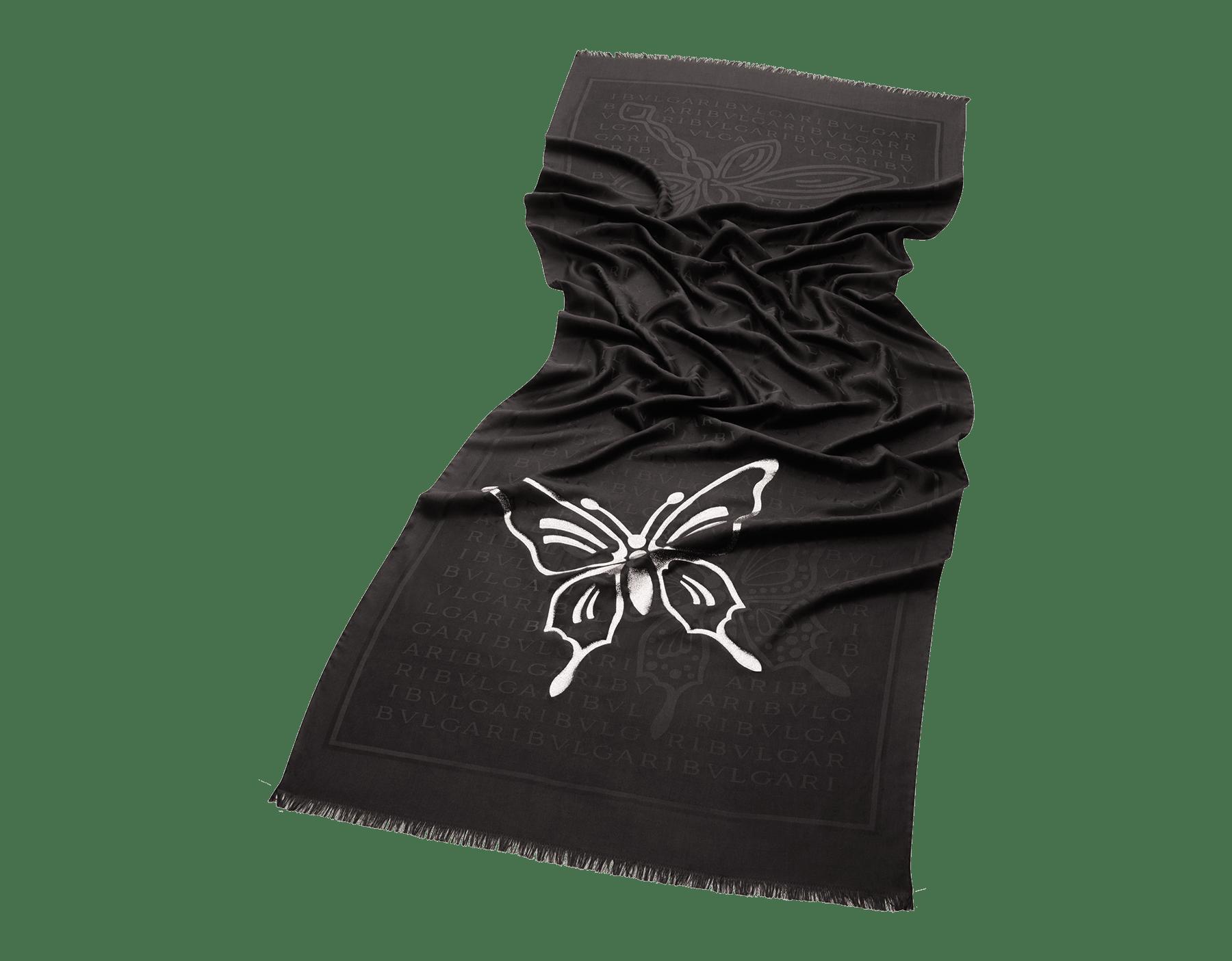 ブラックの「Lettere Light B Fly」ストール。上質なシルク製。 244268 image 1