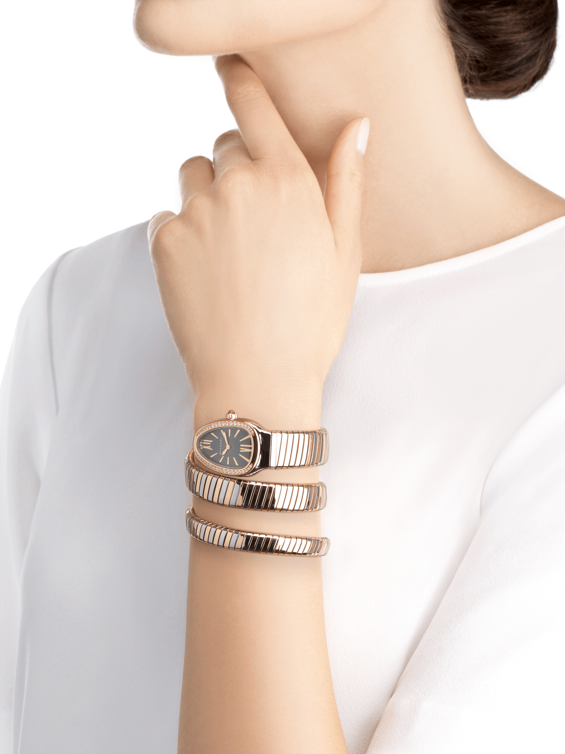 Serpenti Tubogas double spiral watch with stainless steel case, 18 kt rose gold bezel set with brilliant cut diamonds, grey lacquered dial, 18 kt rose gold and stainless steel bracelet. 102680 image 4