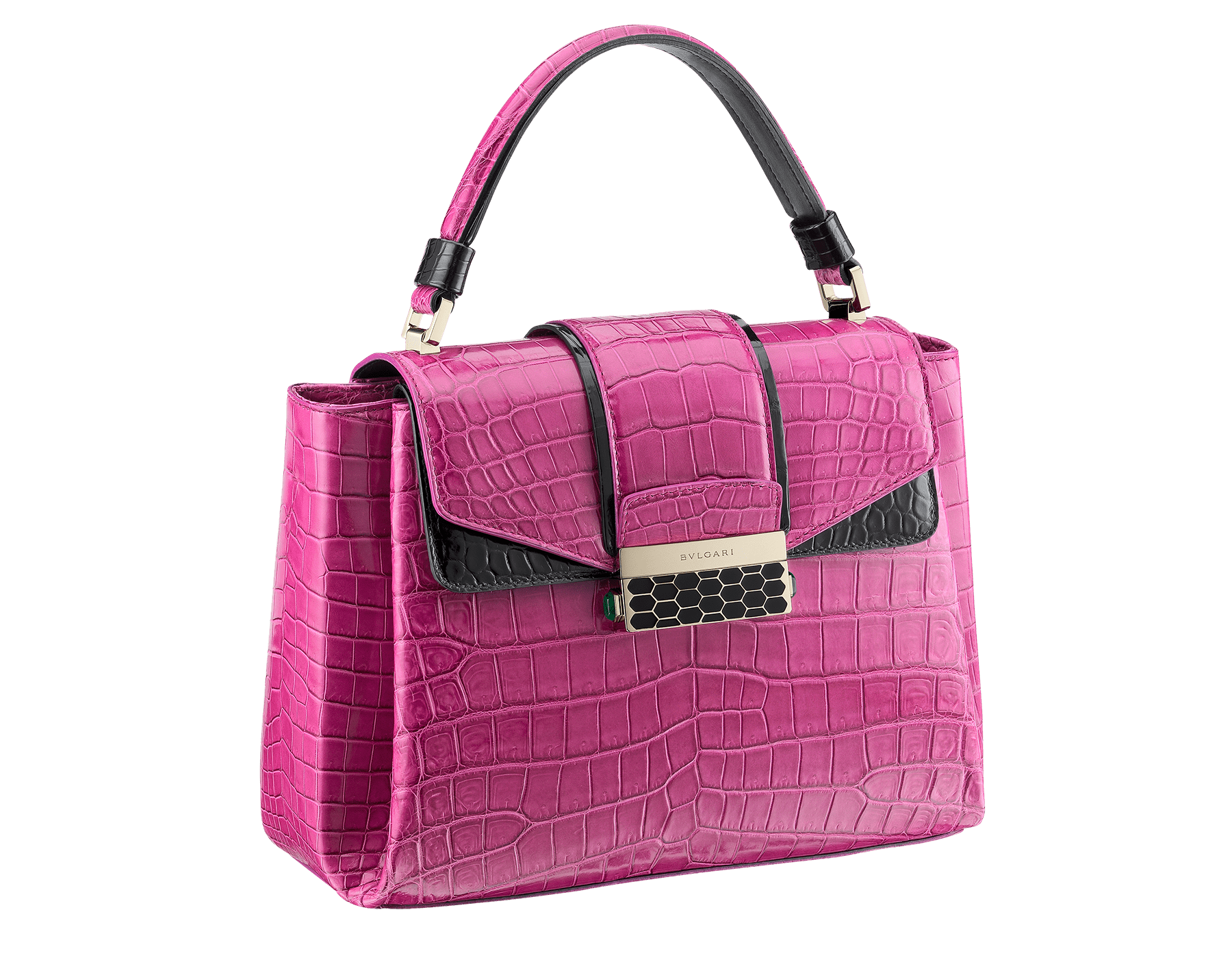 Top handle bag Serpenti Viper in raspberry agate and black shiny crocodile skin. Brass light gold plated hardware and snap closure in black shiny enamel with iconic Scaglie design and lateral push buttons in green malachite stones. One front compartment with internal flap cover, one zipped pocket and one open pocket in the central compartment, one back open compartment. Internal metal tag featuring the Bulgari logo. Adjustable and removable shoulder strap Small size. 27 x 20 x 11 cm. - 10.6 x 7.8 x 4.3 281722 image 2
