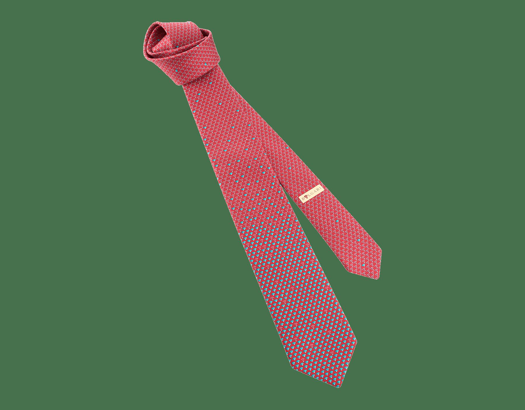 """Cherry """"WI Diva"""" seven-folds tie in fine saglione printed silk. 244387 image 1"""