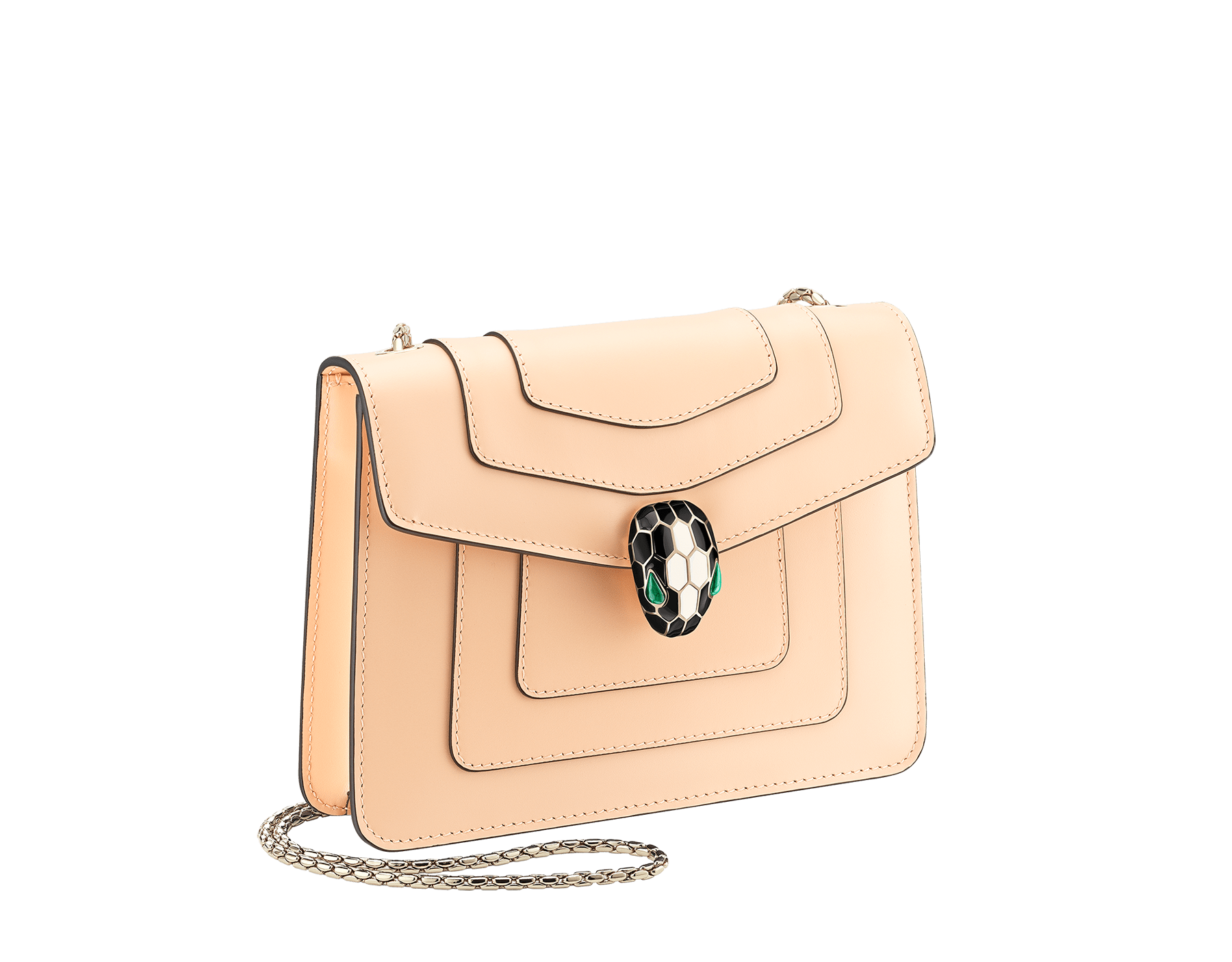 """Serpenti Forever"" crossbody bag in peach calf leather with Pink Spinel fuchsia gros grain internal lining. Iconic snakehead closure in light gold plated brass enriched with black and white agate enamel and green malachite eyes. 422-CLc image 2"