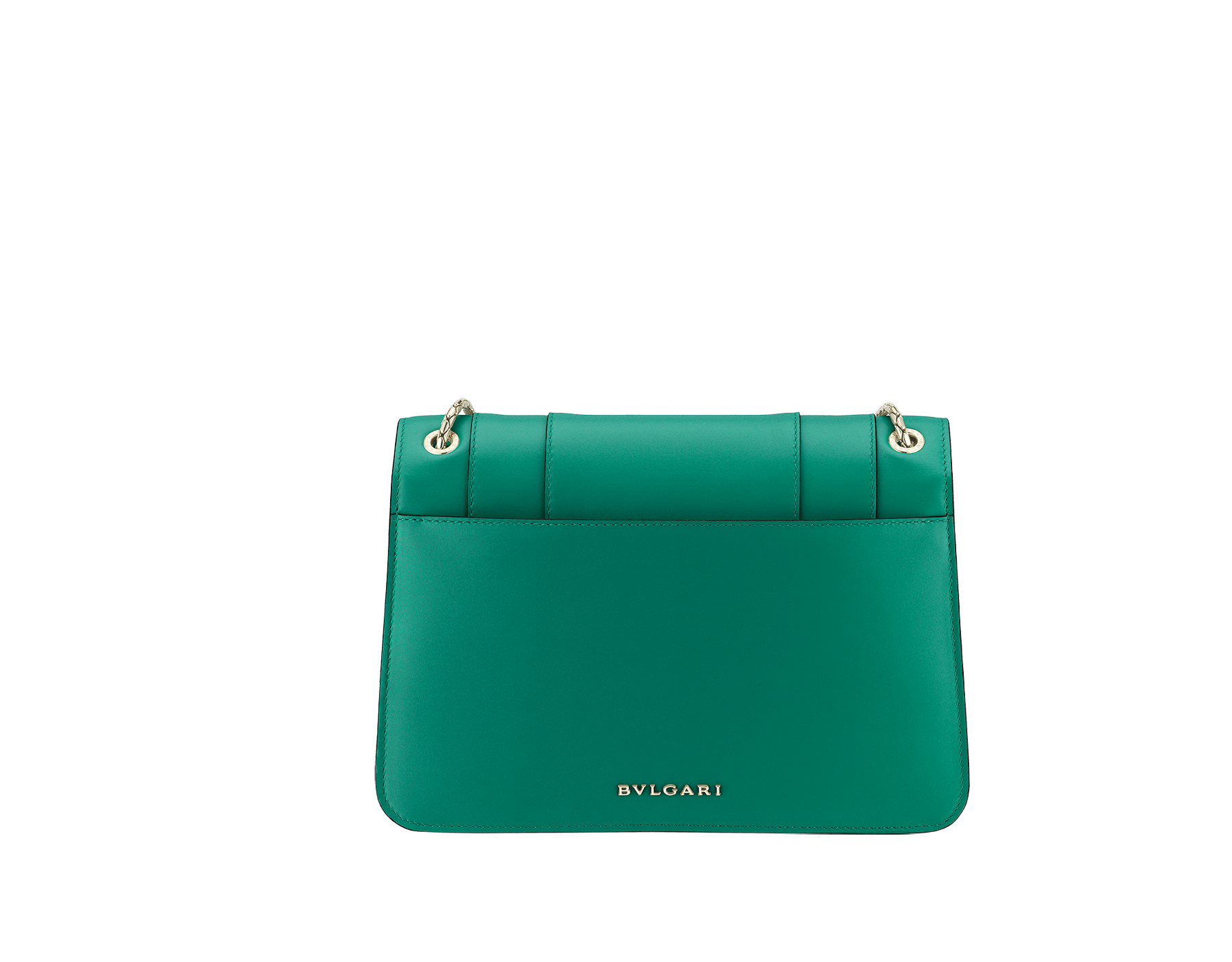 """Serpenti Forever"" shoulder bag in black calf leather. Iconic snakehead closure in light gold-plated brass enhanced with black and white agate enamel and green malachite eyes. 1077-CL image 3"