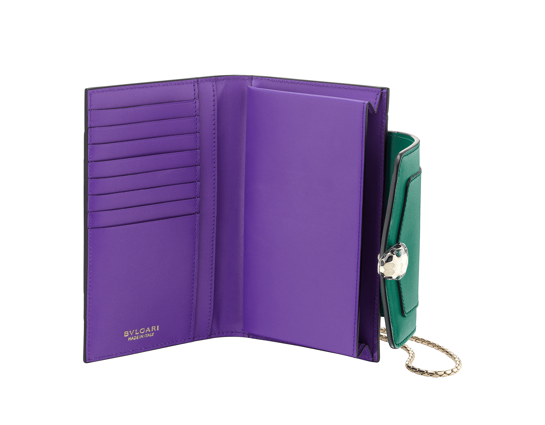 Techno-hybrid Serpenti Forever in flash amethyst calf leather, with black calf leather lining. Brass light gold plated Serpenti head stud closure in black and white enamel, with green enamel eyes. SEA-TECHNO-HYBRIDa image 2