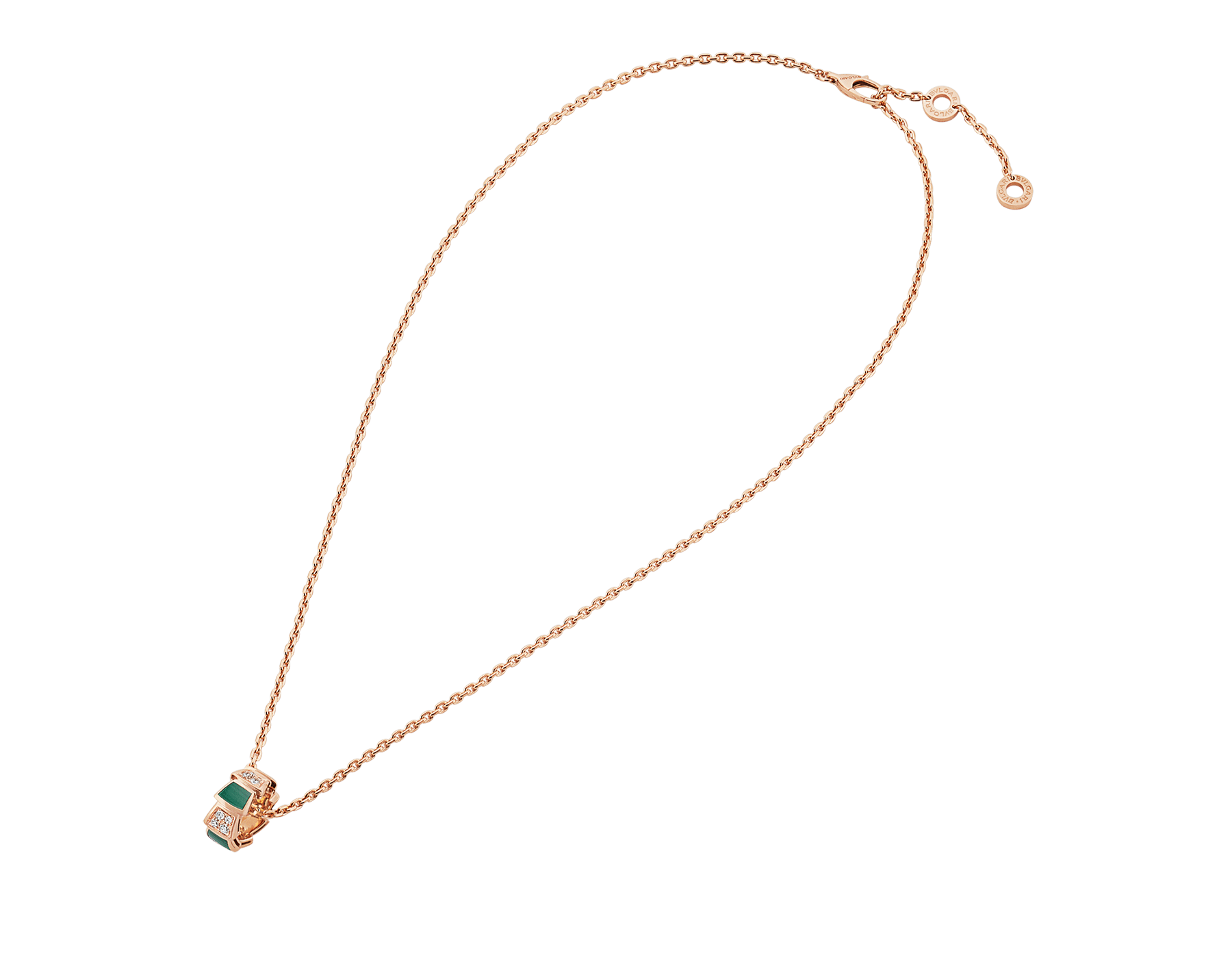 Serpenti Viper 18 kt rose gold necklace set with malachite elements and pavé diamonds on the pendant. 355958 image 2