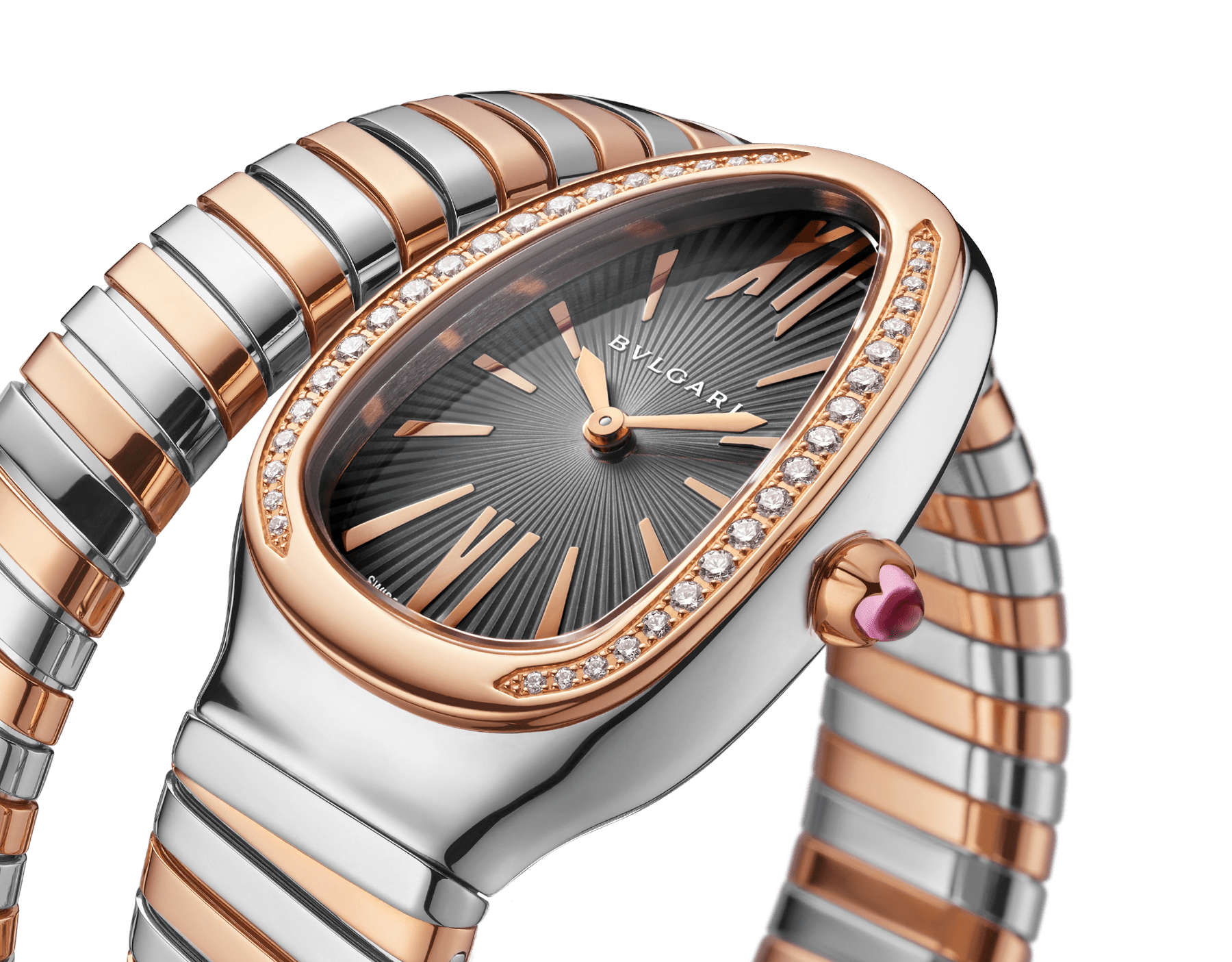 Serpenti Tubogas single spiral watch with stainless steel case, 18 kt rose gold bezel set with brilliant cut diamonds, grey lacquered dial, 18 kt rose gold and stainless steel bracelet. 102681 image 3