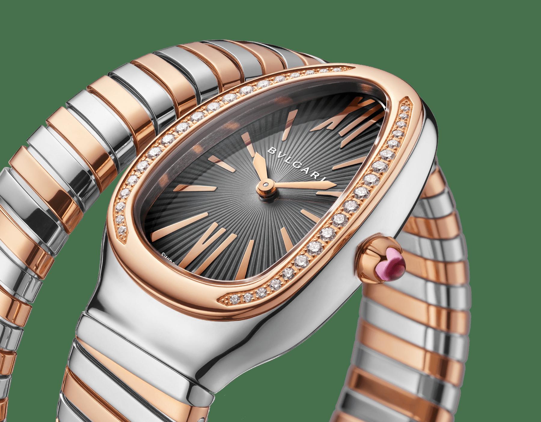 Serpenti Tubogas 單圈螺旋腕錶,精鋼錶殼,18K 玫瑰金錶圈鑲飾明亮型切割鑽石,灰色漆面錶盤,18K 玫瑰金和精鋼錶帶。 102681 image 3