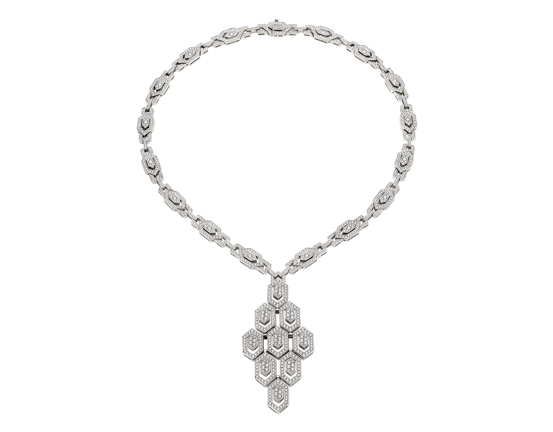 Serpenti Necklace in 18 kt white gold and pavè diamonds (8.66 ct) 353843 image 1