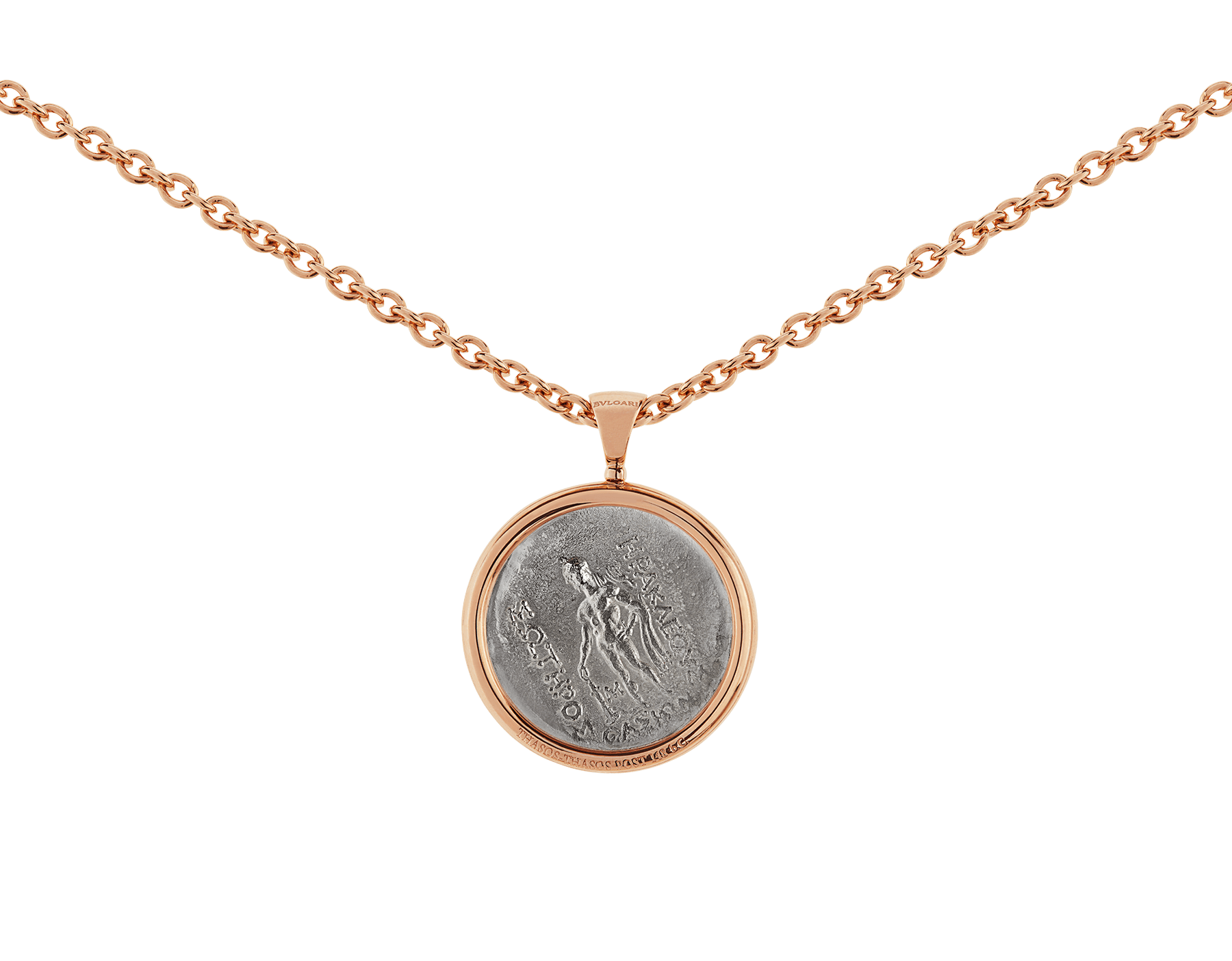 Monete necklace with 18 kt rose gold chain and 18 kt rose gold pendant set with an antique coin 347707 image 4