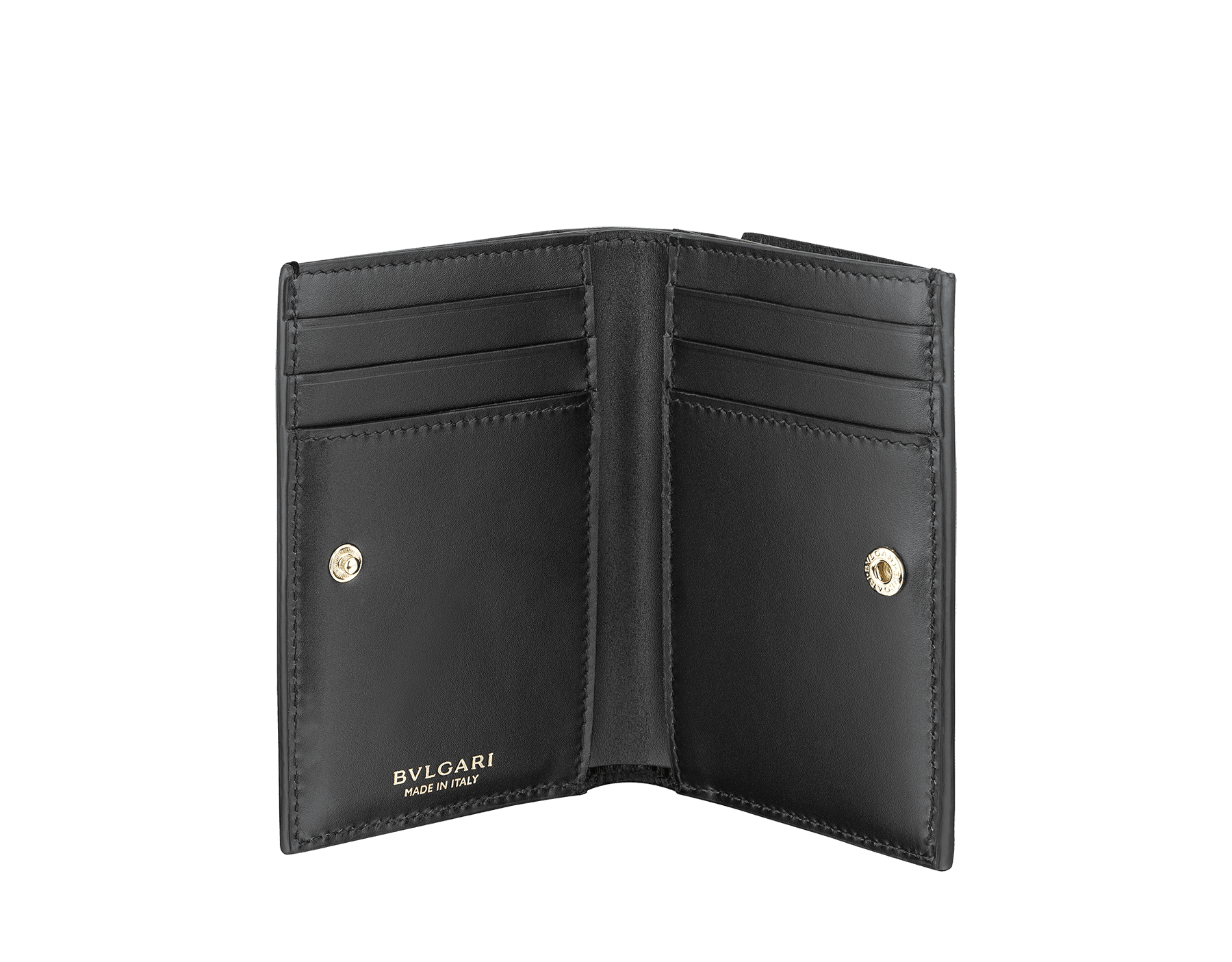 B.zero1 double folded credit card holder in black goatskin. Iconic B.zero1 charm in light gold plated brass. 289150 image 2