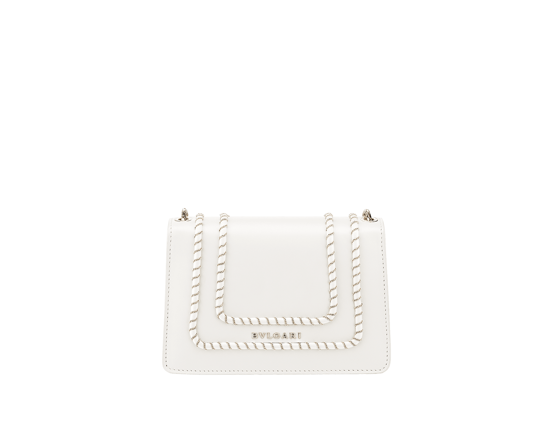 Serpenti Forever mini crossbody bag in white agate calf leather with woven chain décor. Brass light gold-plated snake head closure in black and white enamel, with black onyx eyes. 288045 image 3