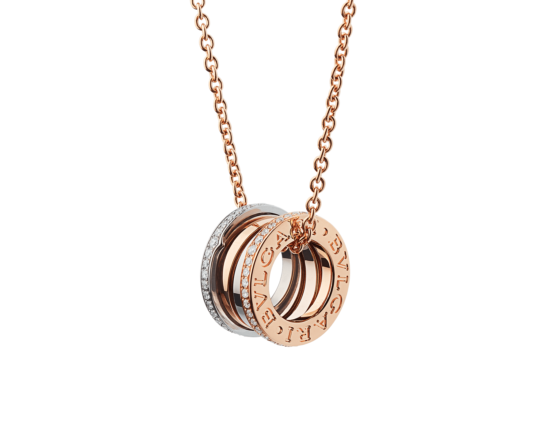 B.zero1 necklace with 18 kt rose and white gold pendant set with pavé diamonds (0.41 ct) on the edges and 18 kt rose gold chain. 355062 image 1
