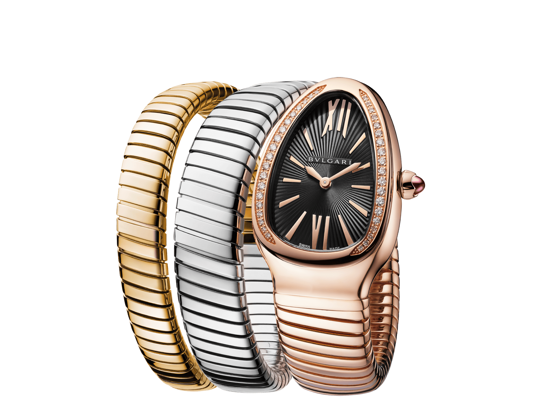 Serpenti Tubogas double spiral watch with 18 kt rose gold case set with round brilliant-cut diamonds, black opaline dial and 18 kt rose, yellow and white gold bracelet 102948 image 2